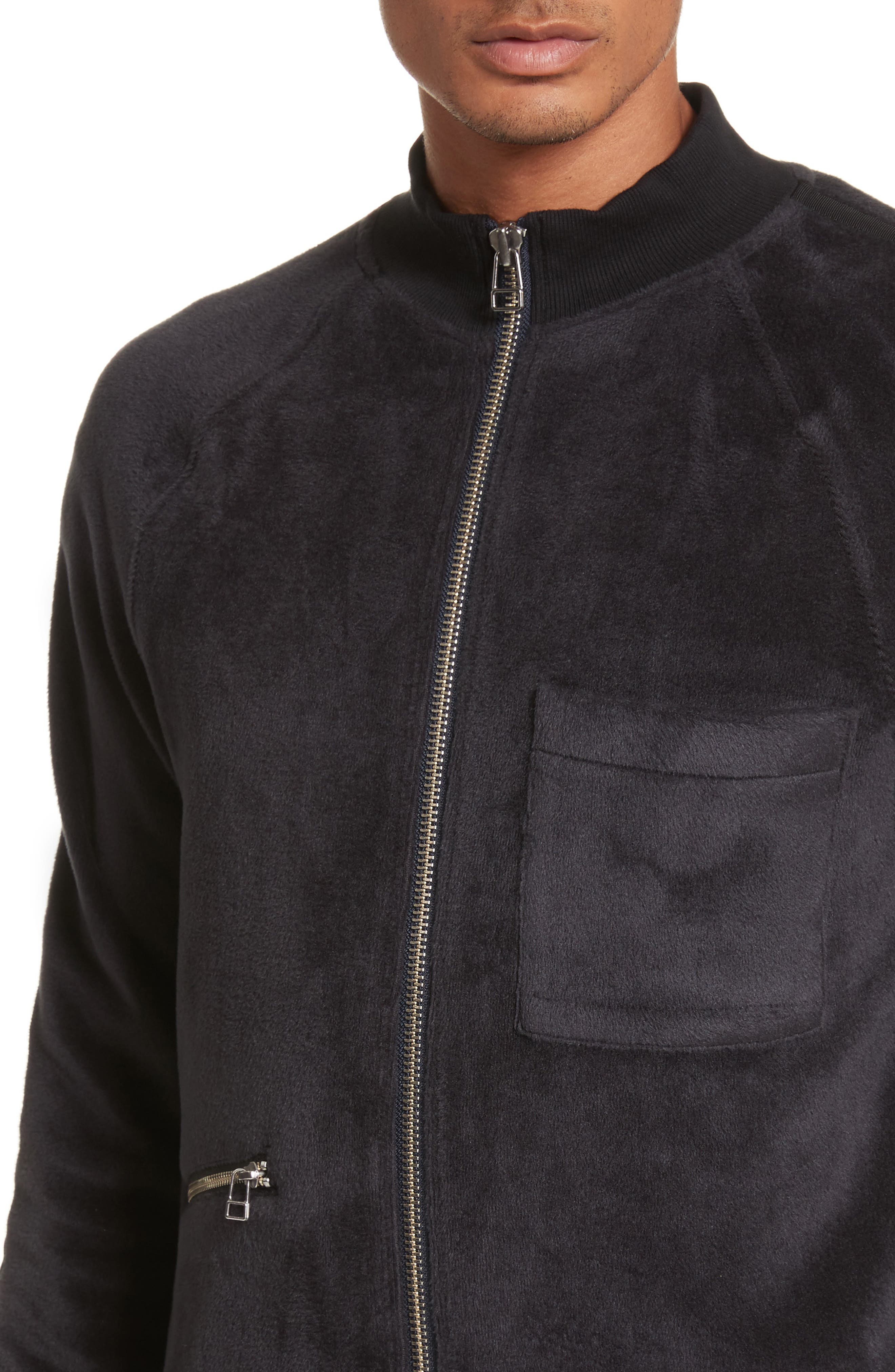 Velour Zip Jacket,                             Alternate thumbnail 4, color,                             Faded Blue