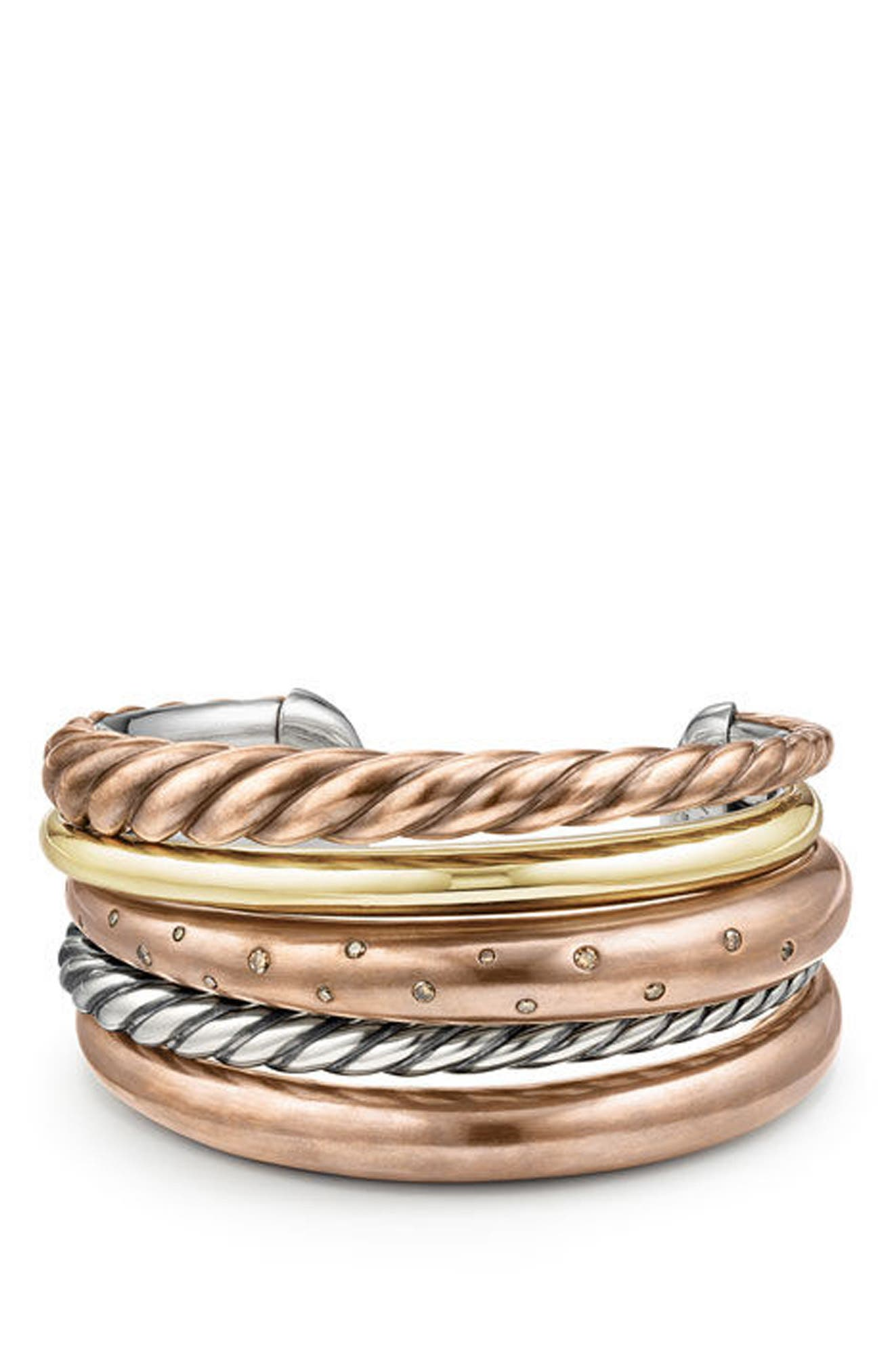 Alternate Image 1 Selected - David Yurman Pure Form Mixed Metal Five-Row Cuff with Diamonds, 41mm