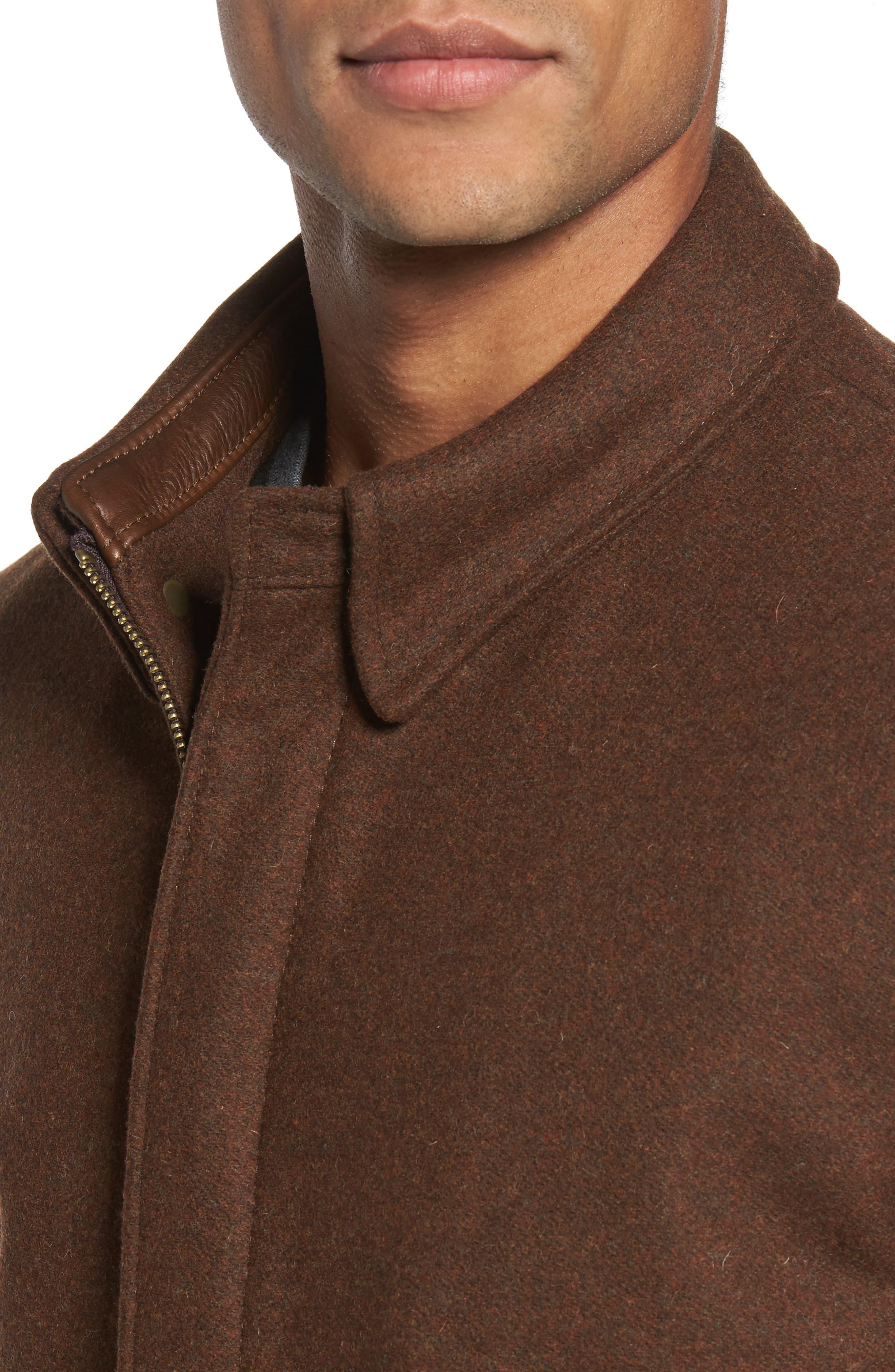 Liberty Wool Blend Zip Front Jacket,                             Alternate thumbnail 4, color,                             Brown