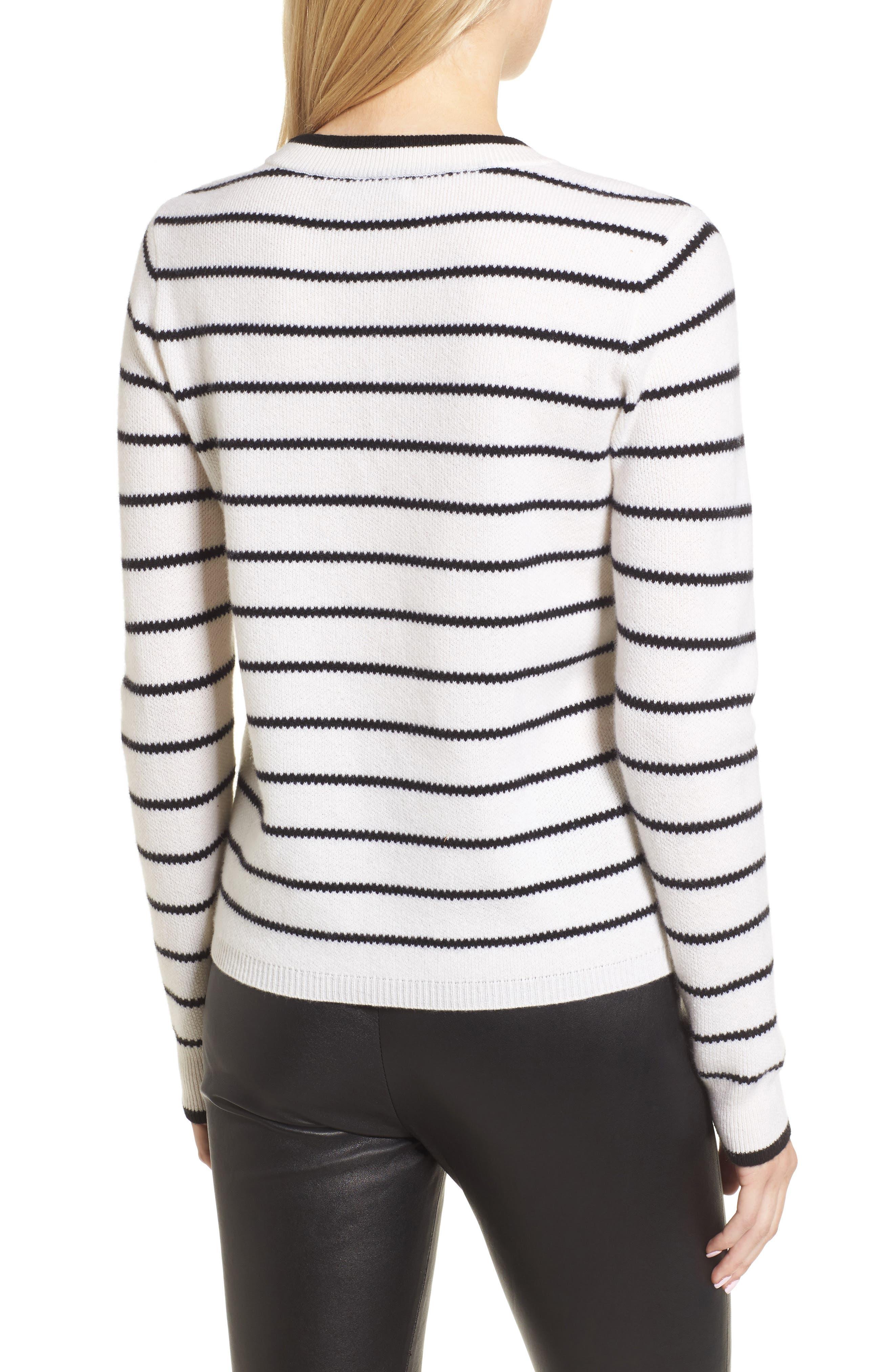 Stripe Cashmere Sweater,                             Alternate thumbnail 5, color,                             Ivory- Black Stripe