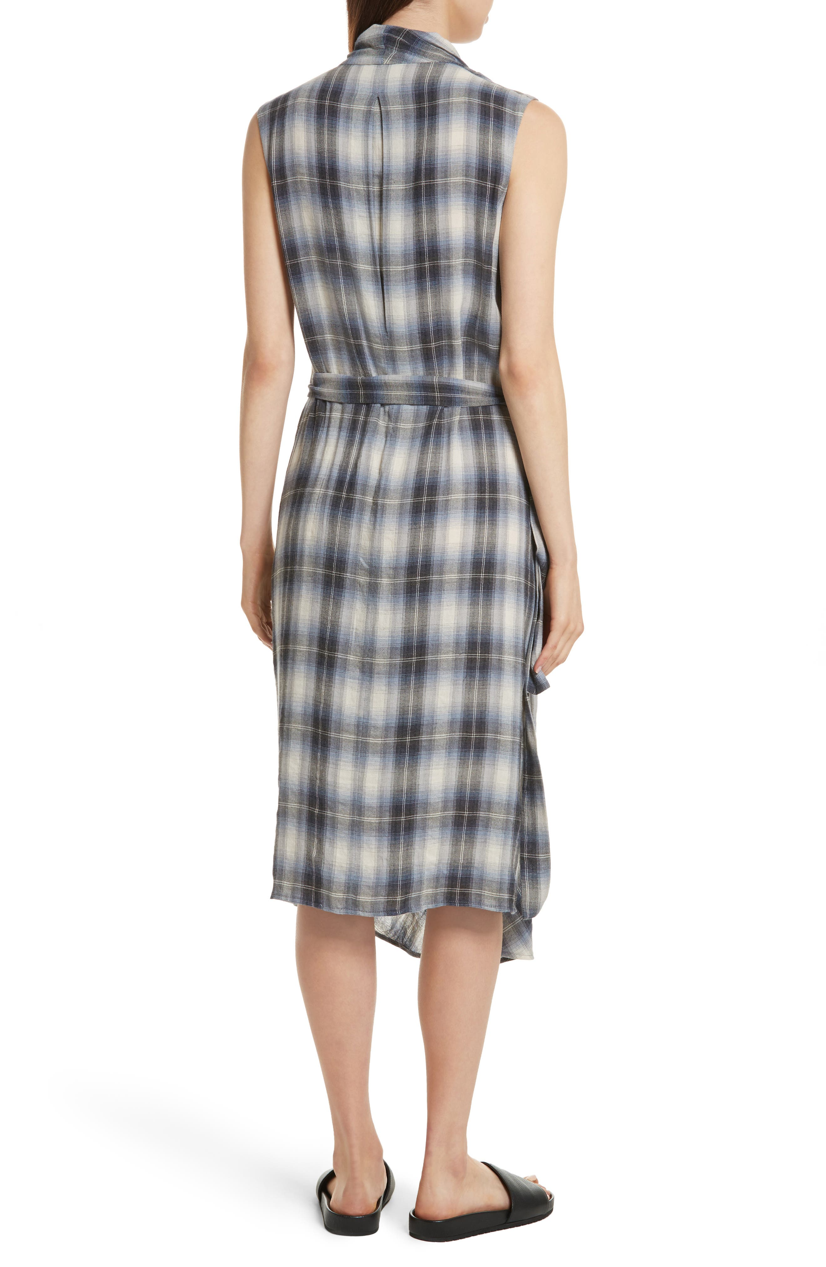 Alternate Image 2  - Vince Shadow Plaid Sleeveless Wrap Dress