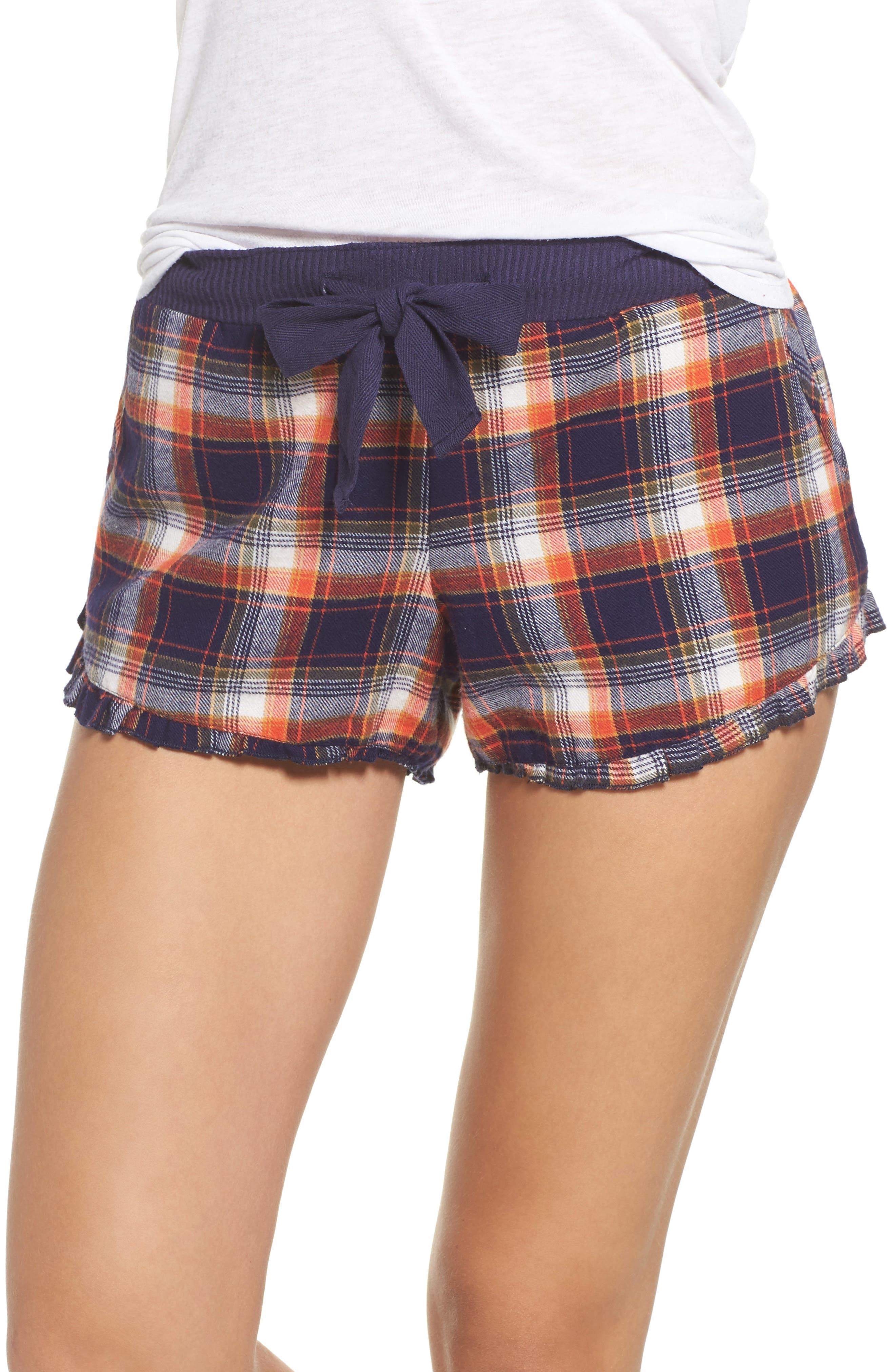Make + Model Ruffle Flannel Lounge Shorts