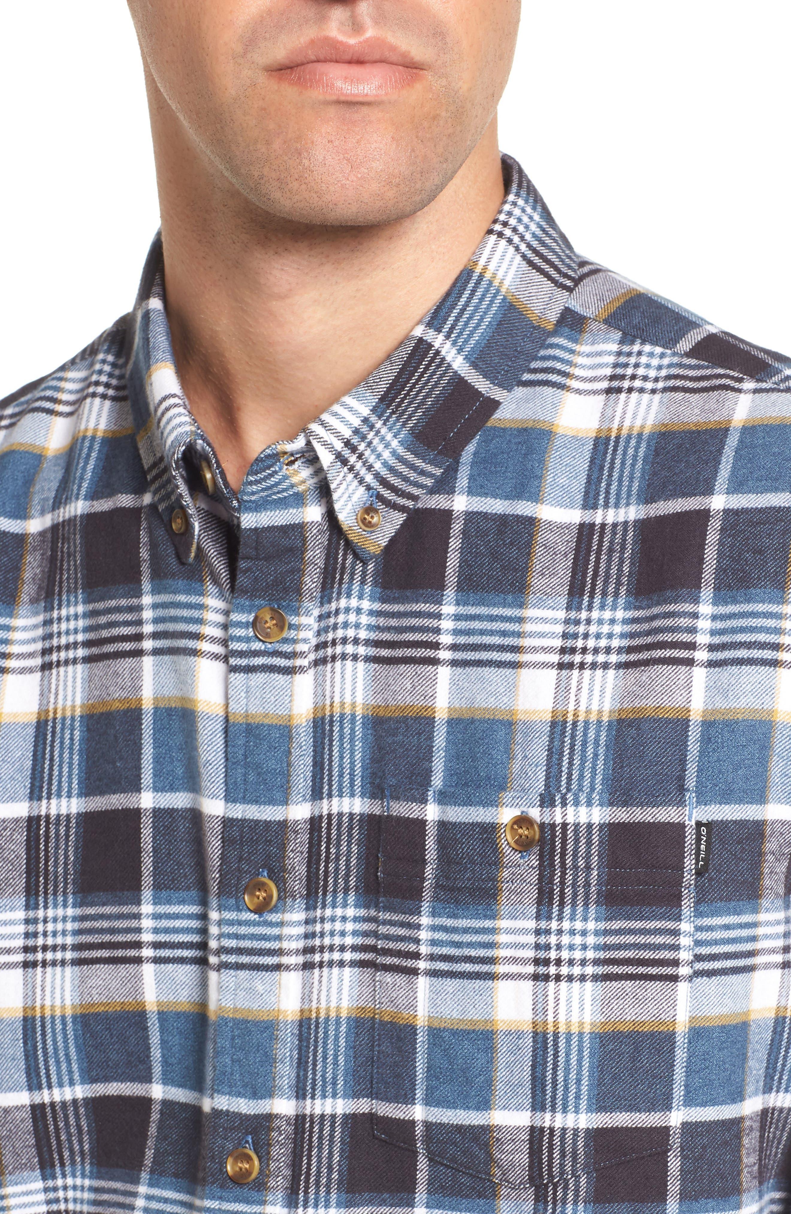 Redmond Regular Fit Plaid Flannel Shirt,                             Alternate thumbnail 4, color,                             Ocean