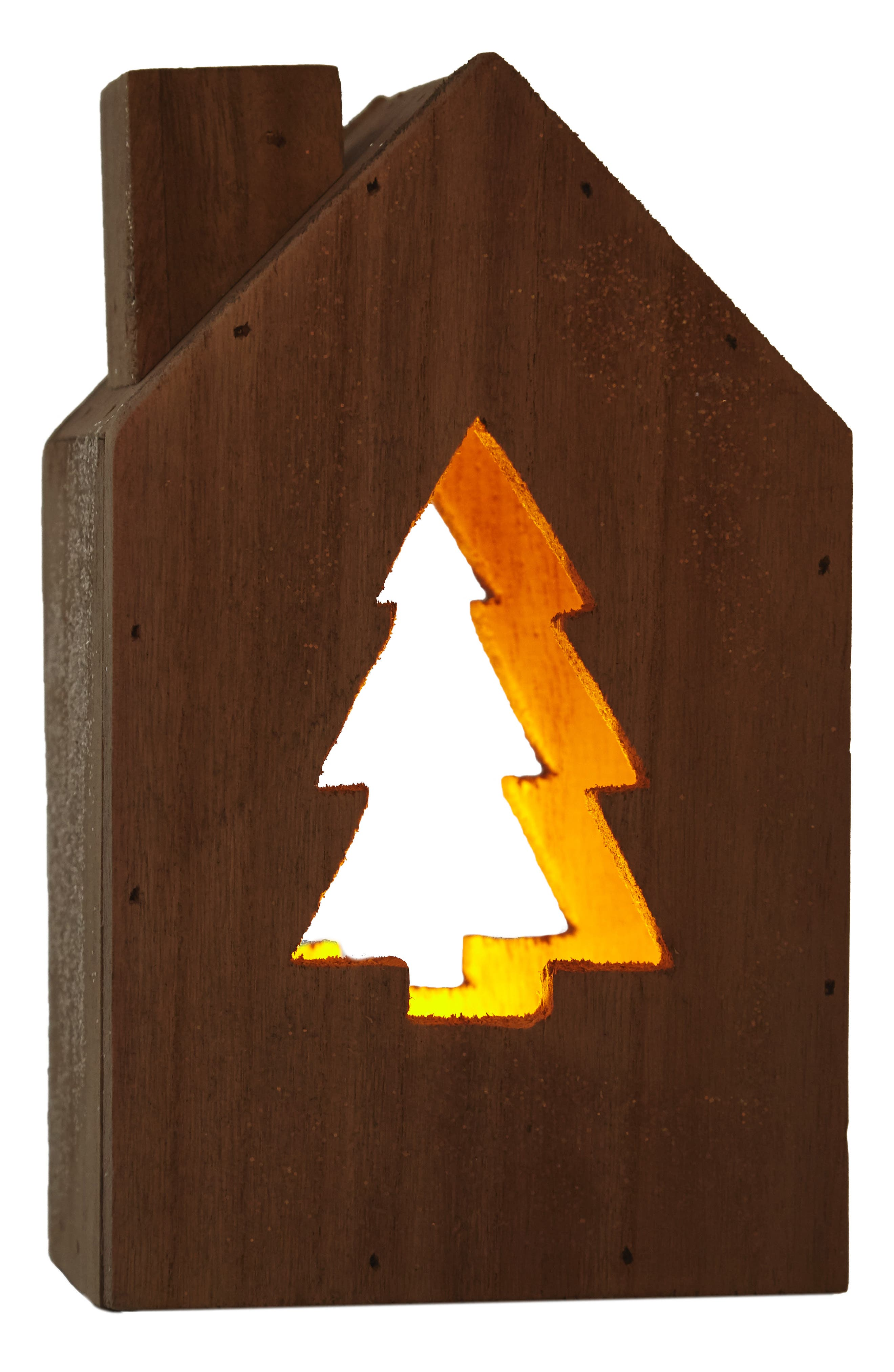 Light-Up Wooden House with Christmas Tree Cutout,                             Alternate thumbnail 2, color,                             Brown