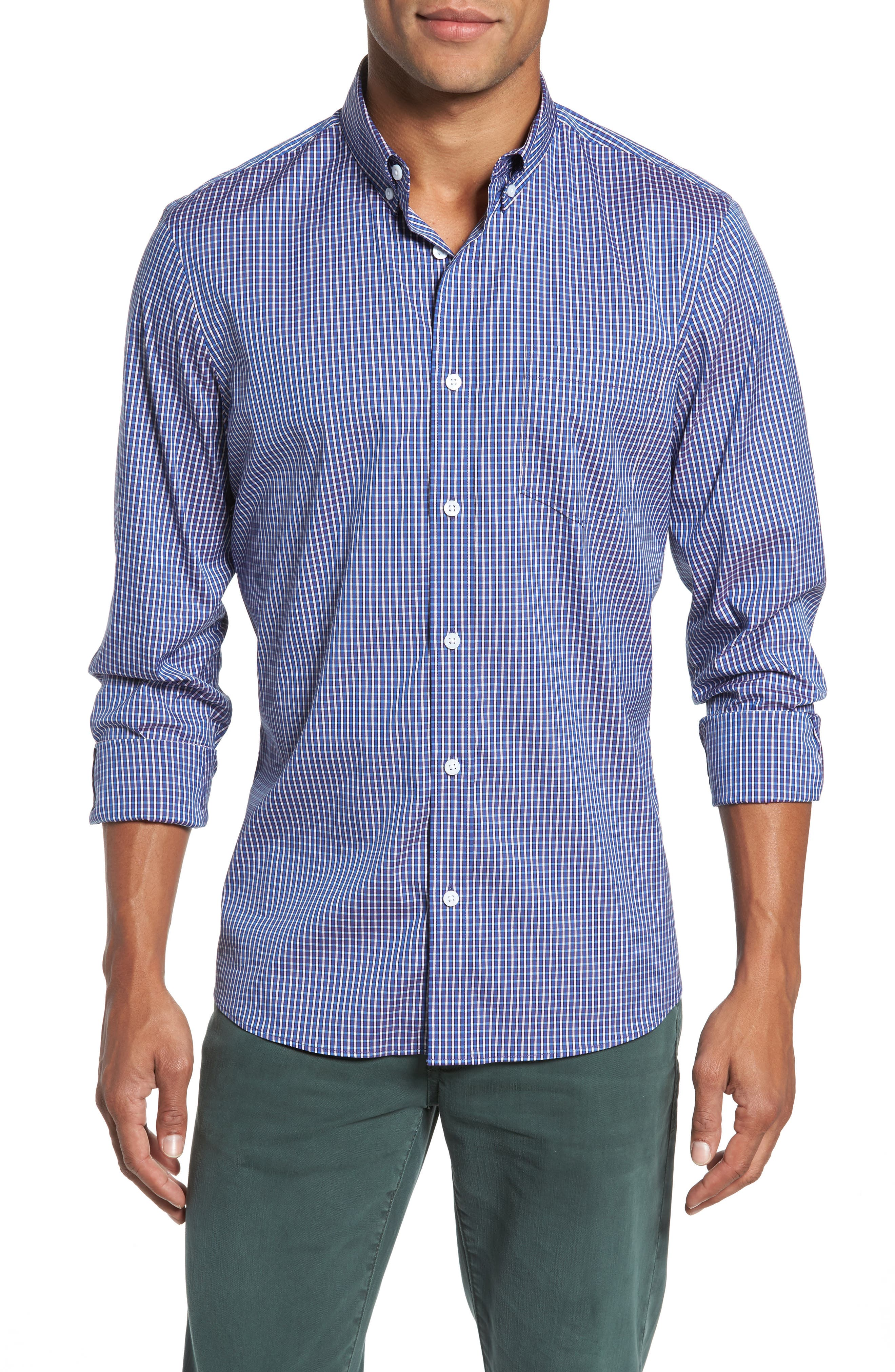 Alternate Image 1 Selected - Nordstrom Men's Shop Tech-Smart Trim Fit Check Sport Shirt
