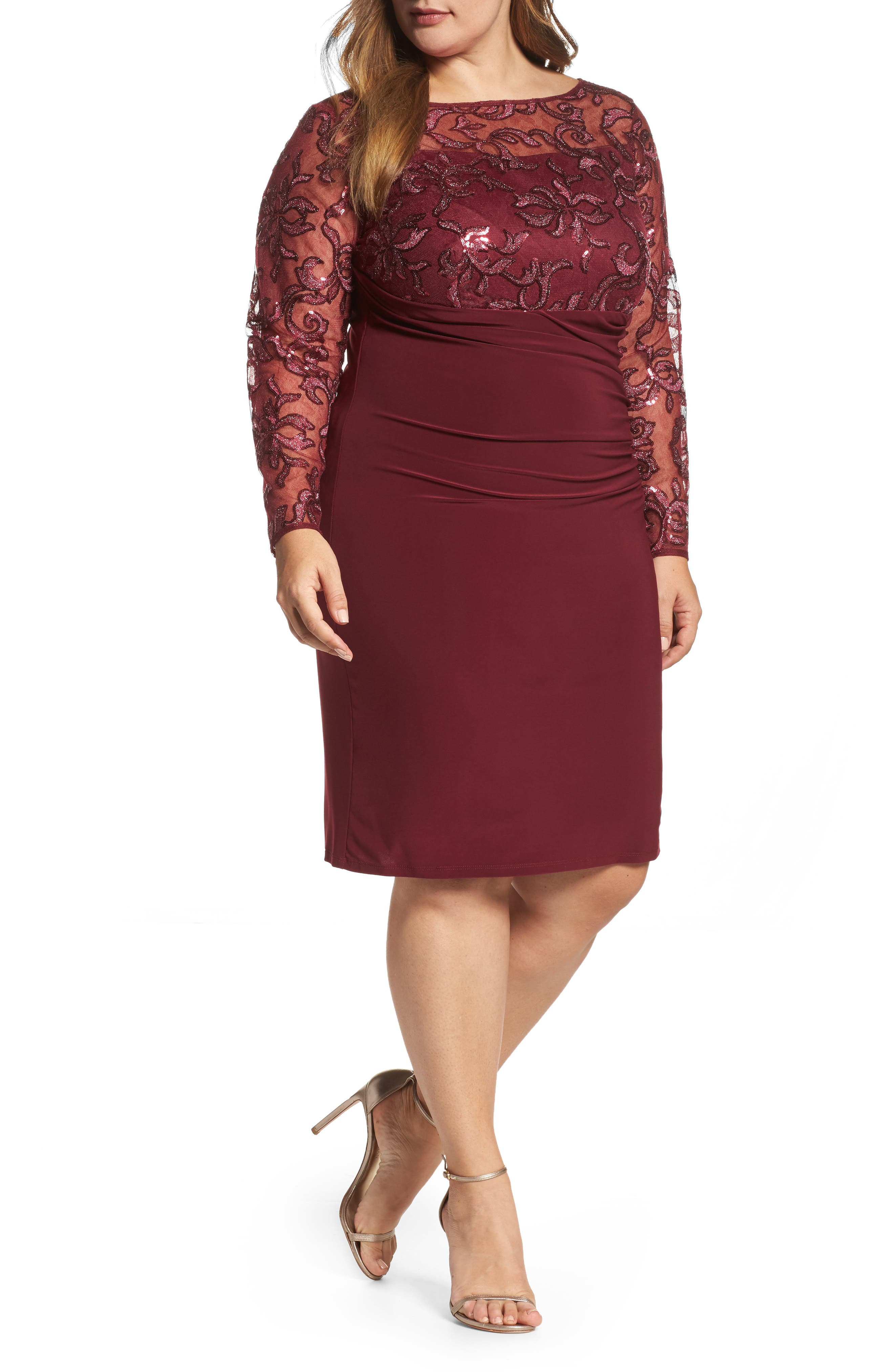 Sequin Illusion & Jersey Side Ruched Sheath Dress,                         Main,                         color, Wine