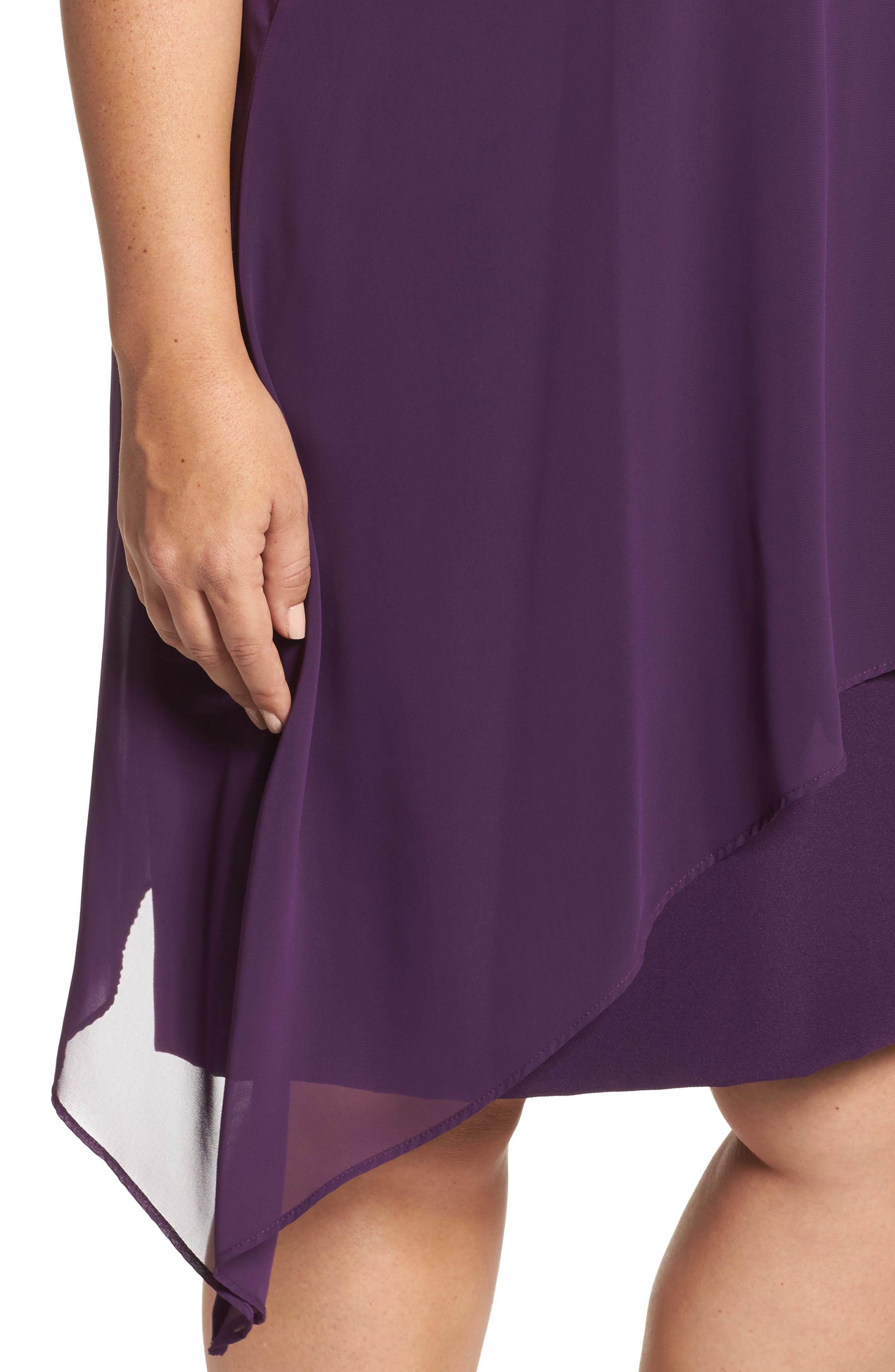 Alternate Image 4  - Tahari Chiffon Overlay Shift Dress (Plus Size)