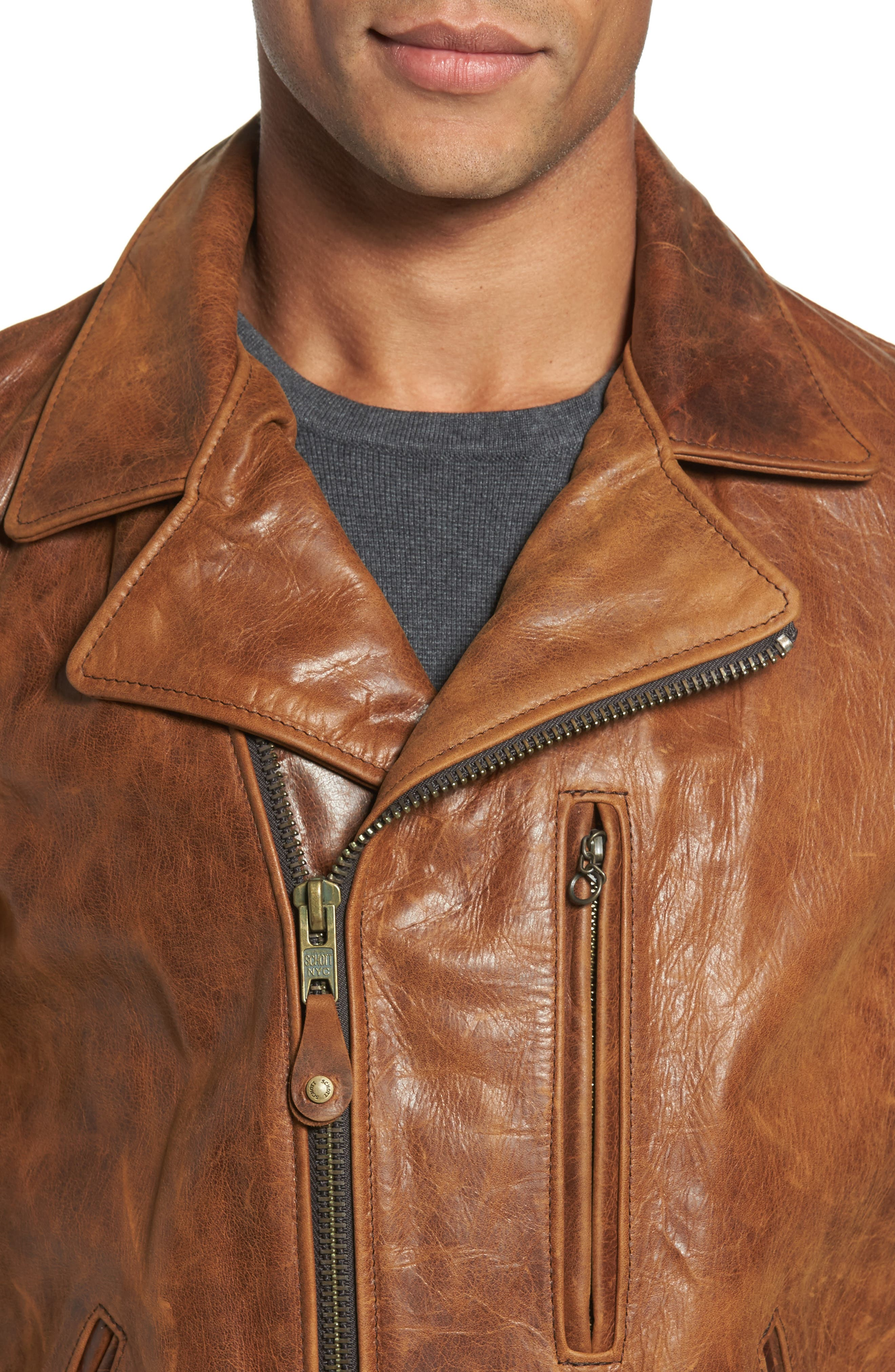 Alternate Image 4  - Schott NYC Asymmetrical Waxy Leather Jacket