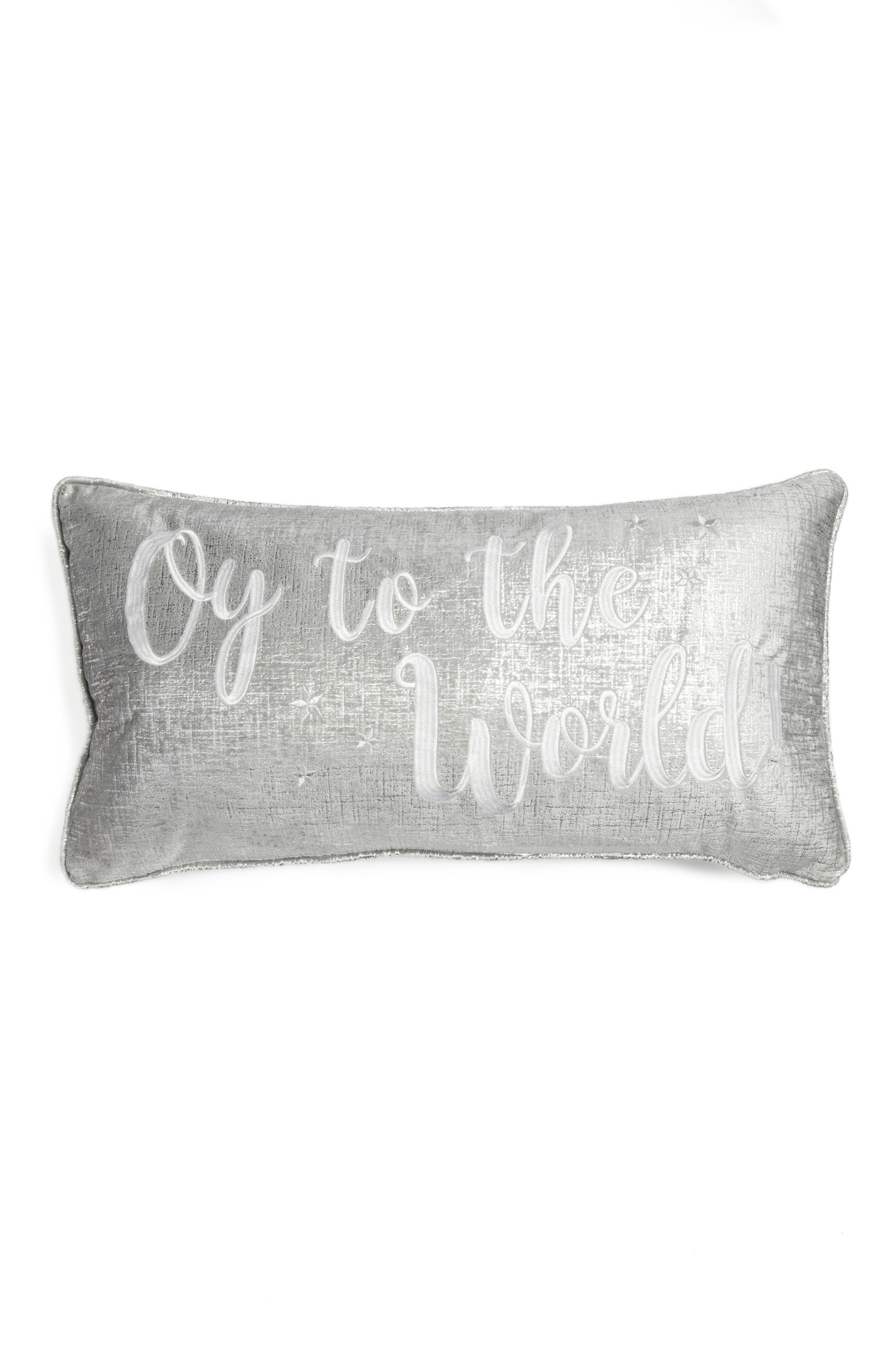 Oy to the World Accent Pillow,                         Main,                         color, Silver