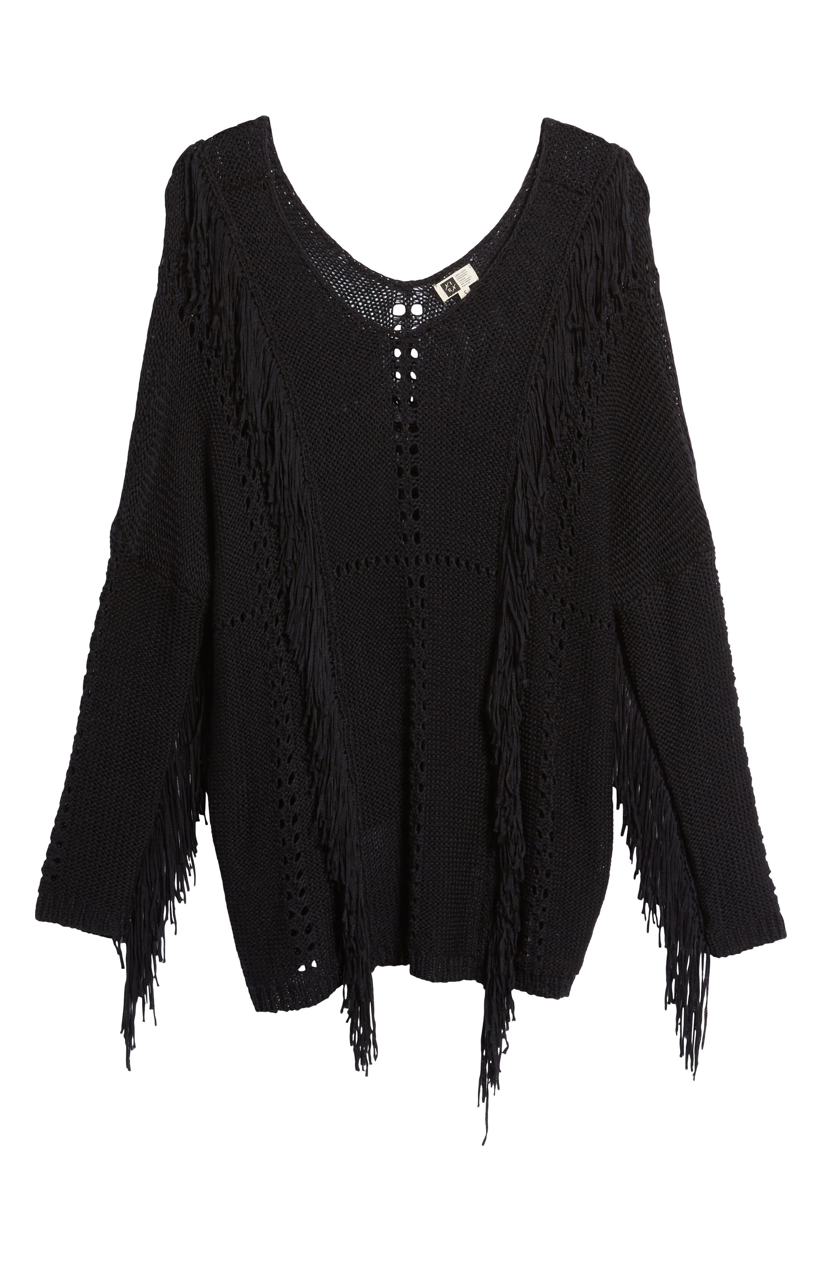Enya Fringe Sweater,                             Alternate thumbnail 6, color,                             Black