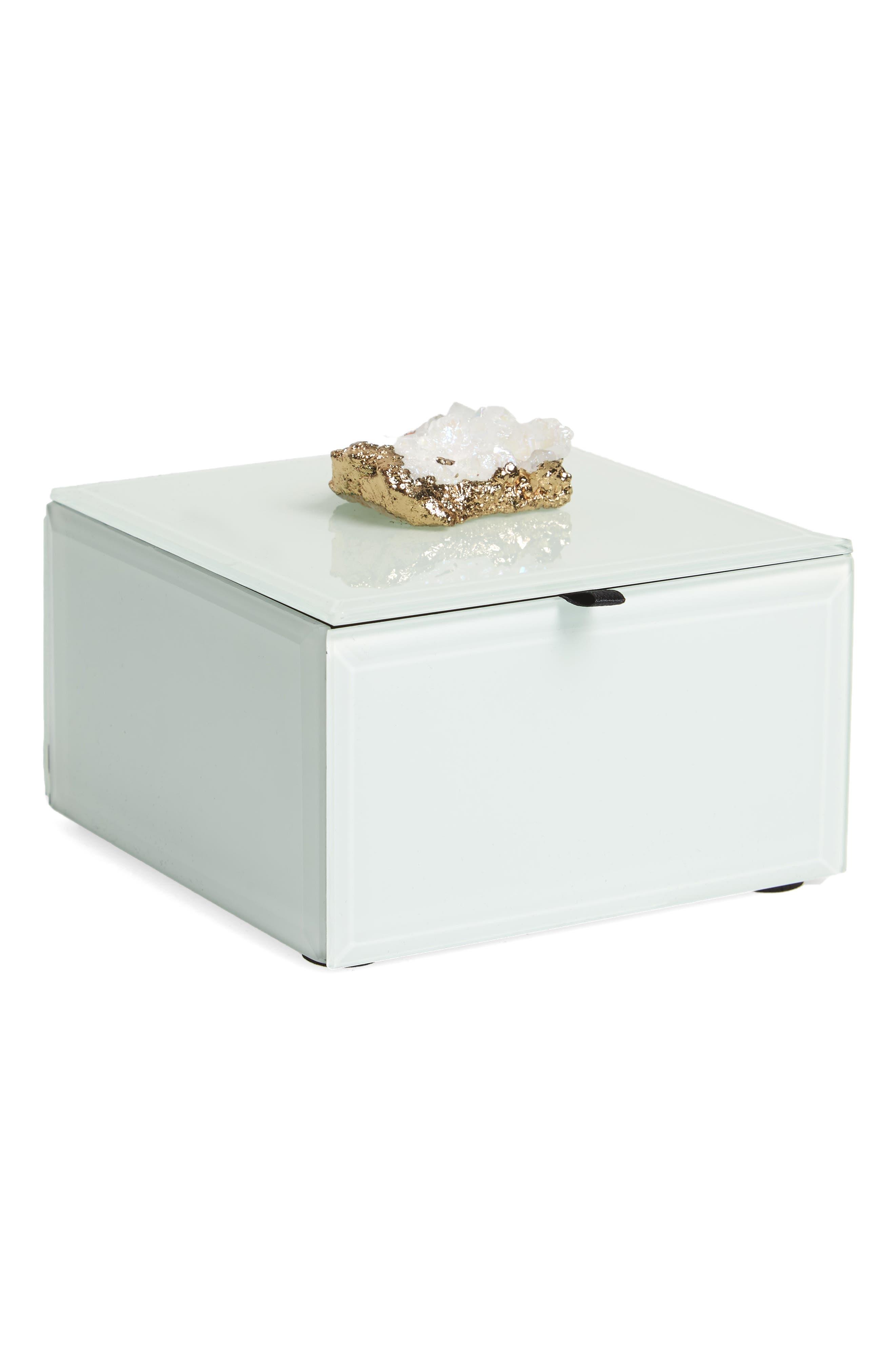 White Agate Jewelry Box,                         Main,                         color, White