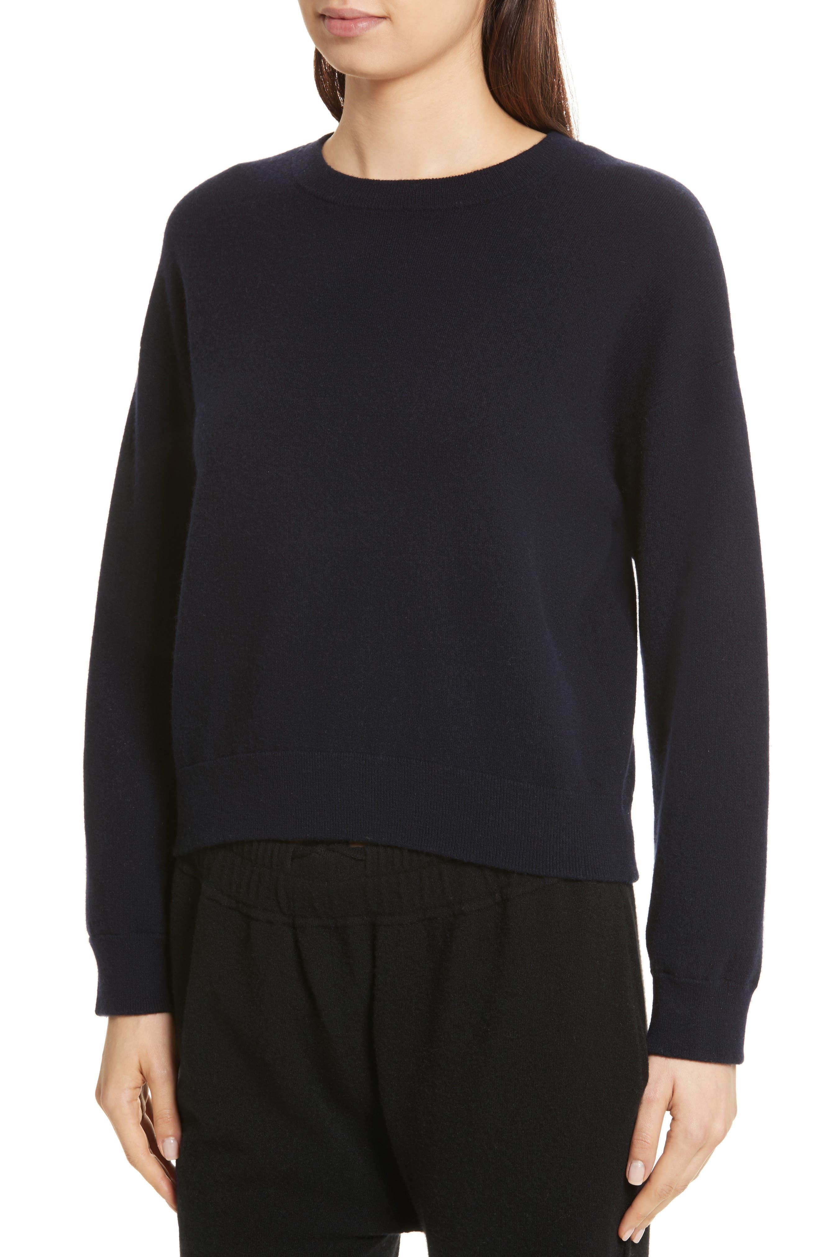 Double Layer Cashmere & Cotton Sweater,                             Alternate thumbnail 4, color,                             Coastal/ Black