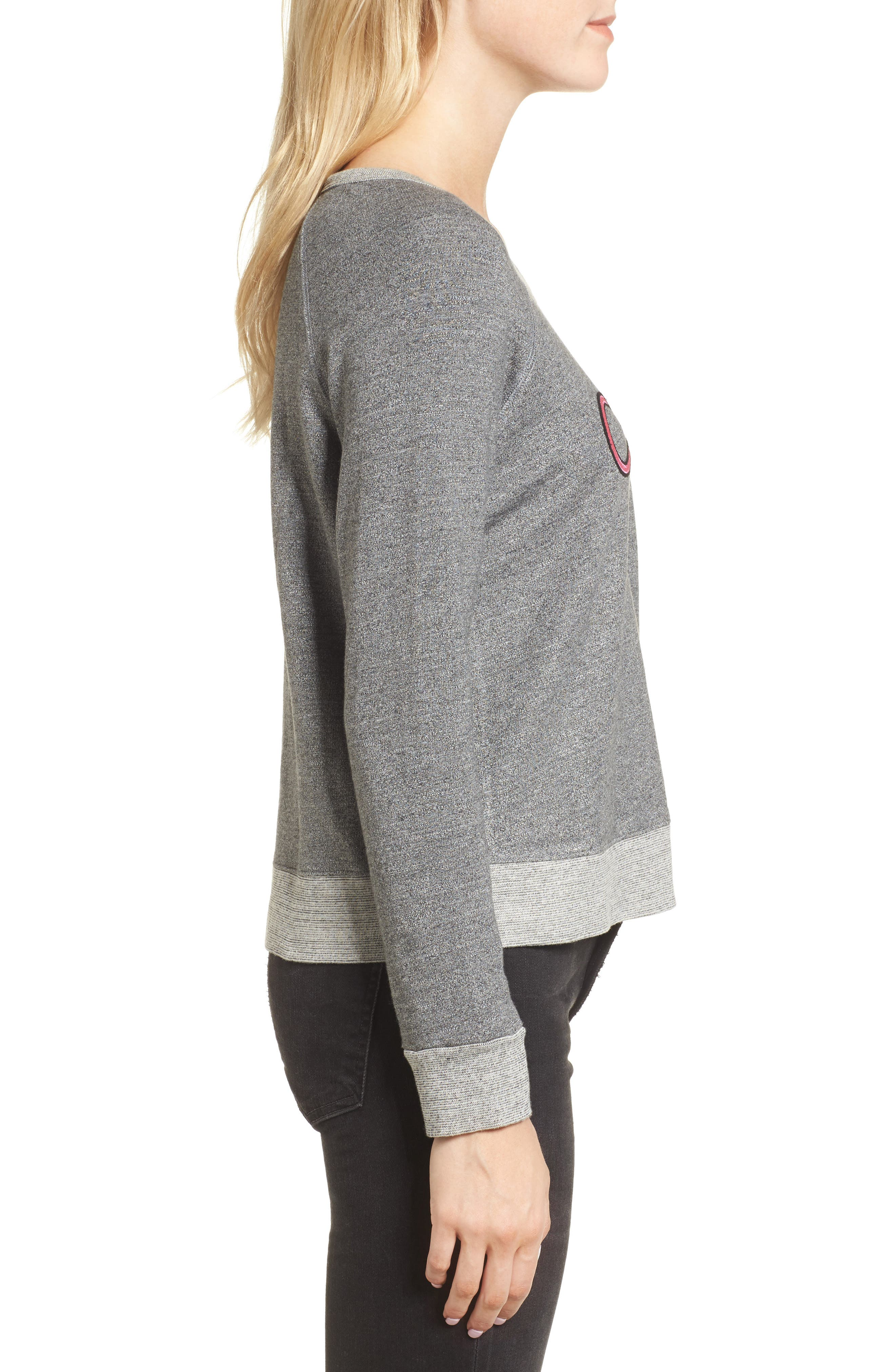 Chic Crop Sweatshirt,                             Alternate thumbnail 3, color,                             Heather Grey