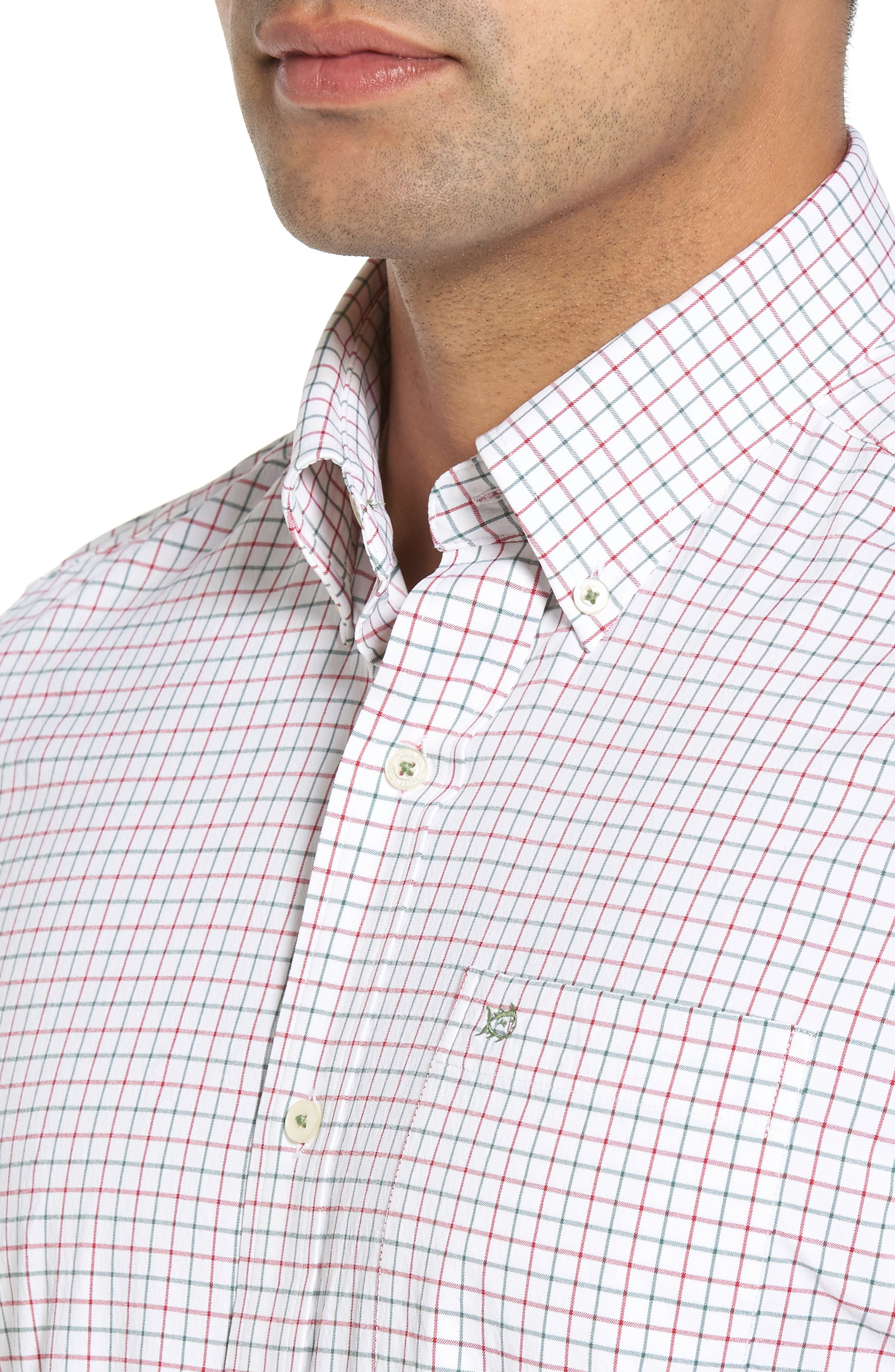 Cromwell Tattersall Performance Classic Fit Sport Shirt,                             Alternate thumbnail 4, color,                             Classic White