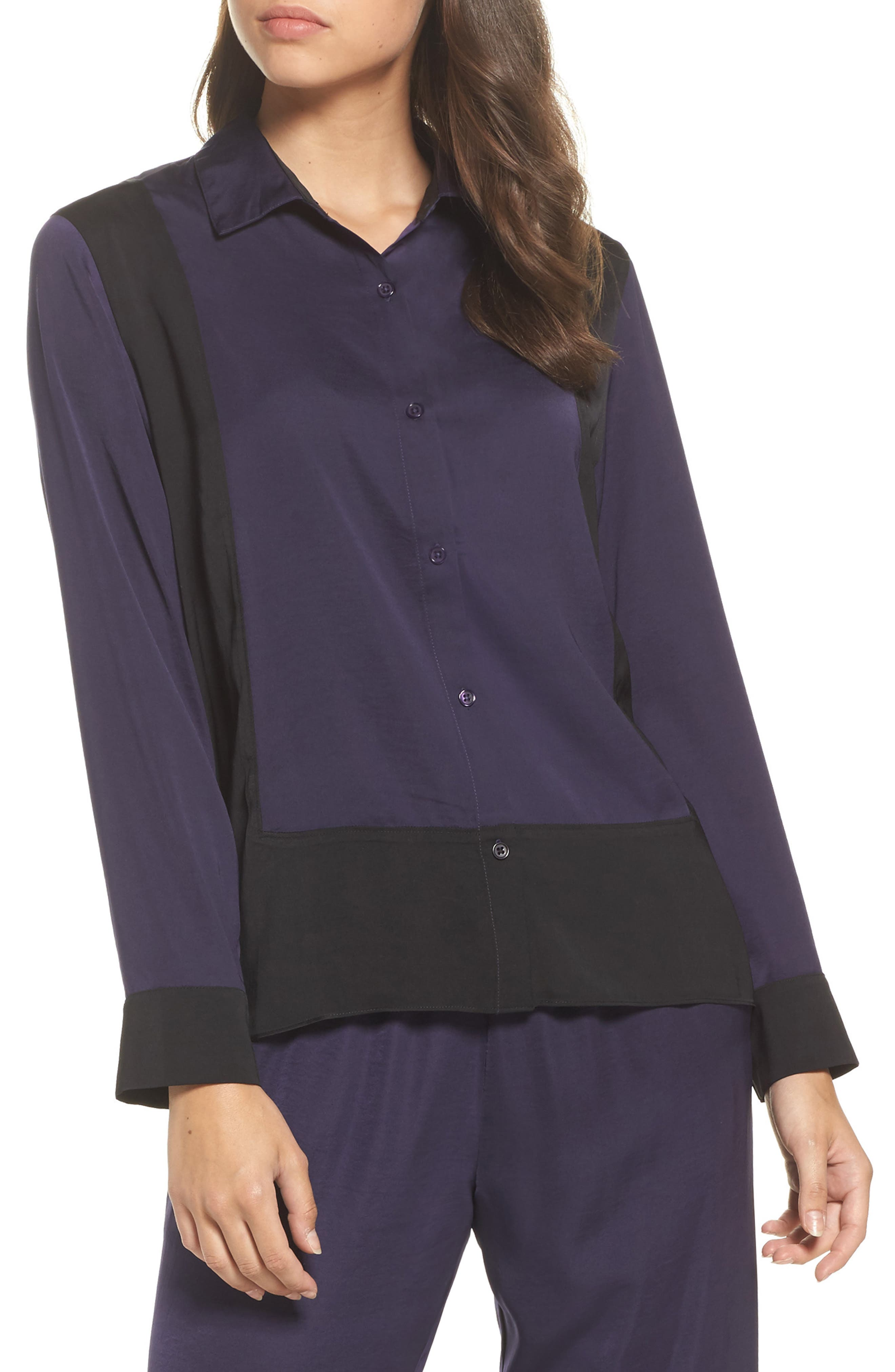 Colorblock Washed Satin Top,                         Main,                         color, Plum