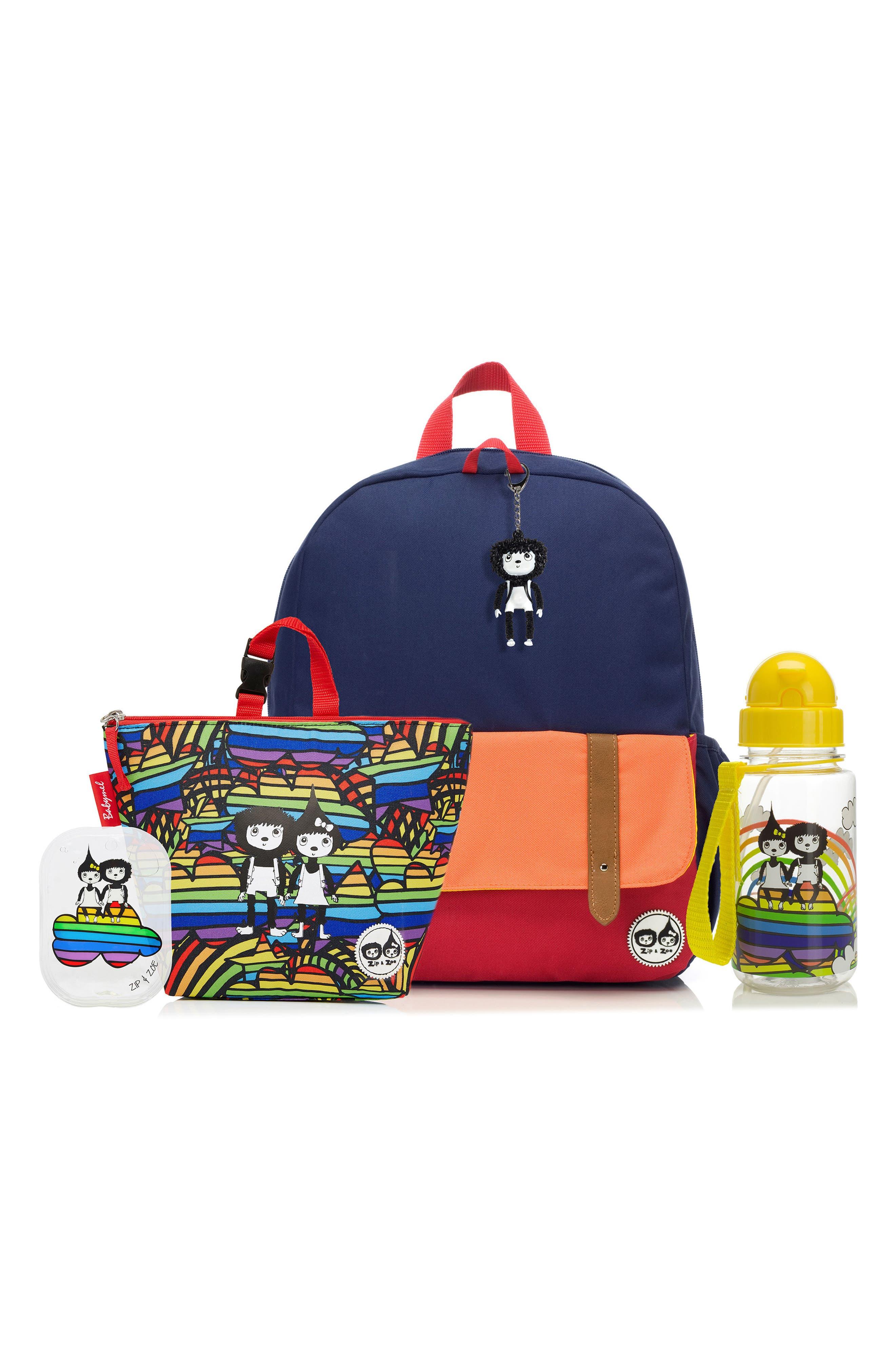 Zip & Zoe Junior Backpack Set,                             Main thumbnail 1, color,                             Navy/ Rainbow