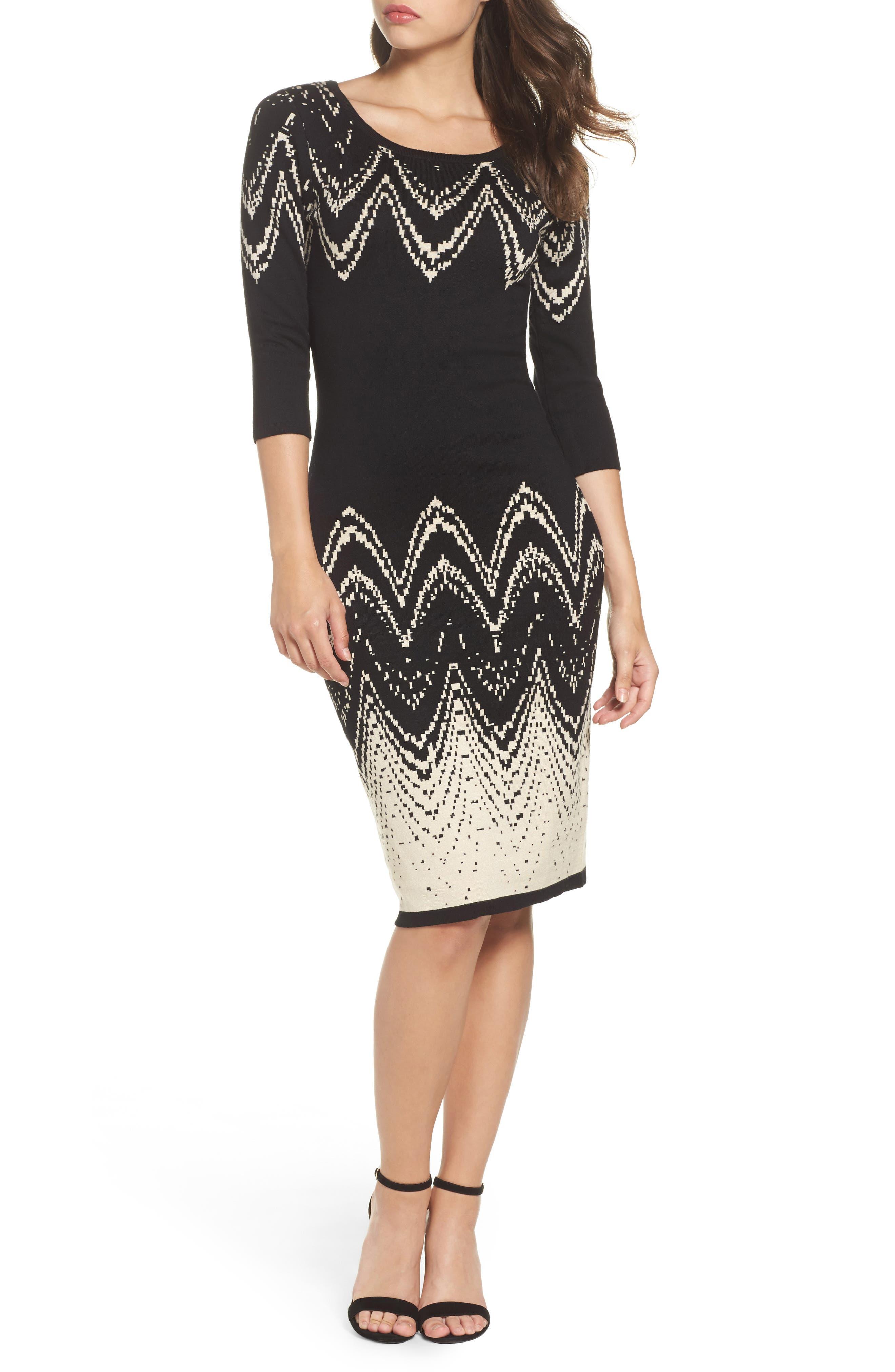Print Sweater Dress,                         Main,                         color, Black/ Sand