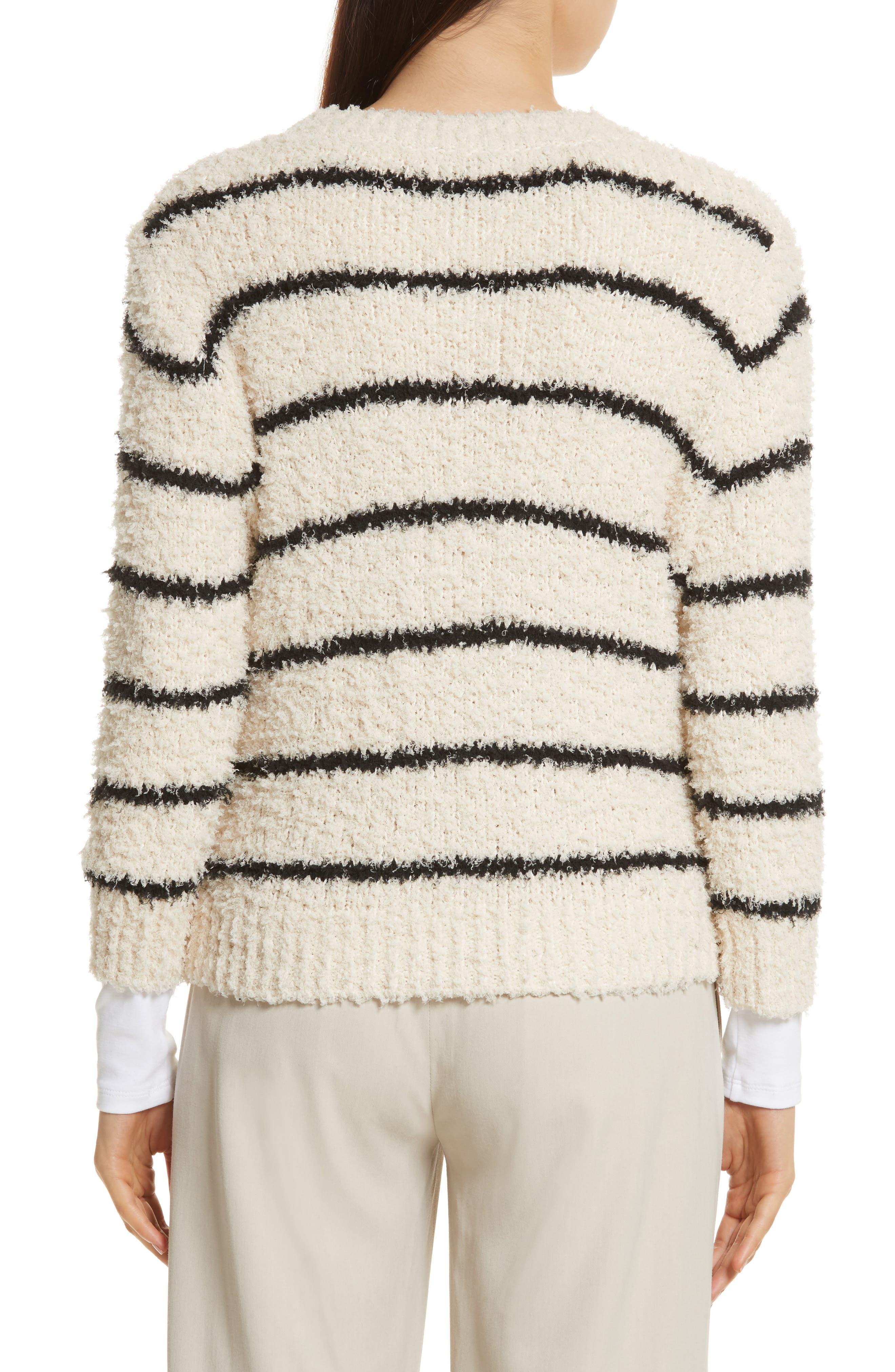 Fuzzy Stripe Sweater,                             Alternate thumbnail 2, color,                             Cream/ Black