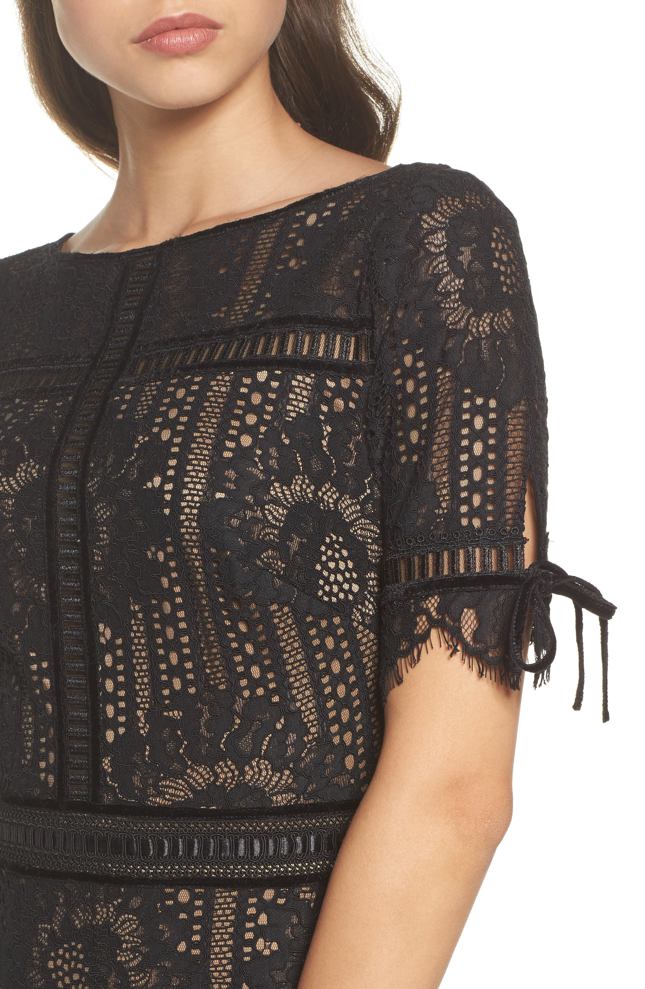 Velvet Trim Lace Sheath Dress,                             Alternate thumbnail 4, color,                             Black/ Nude
