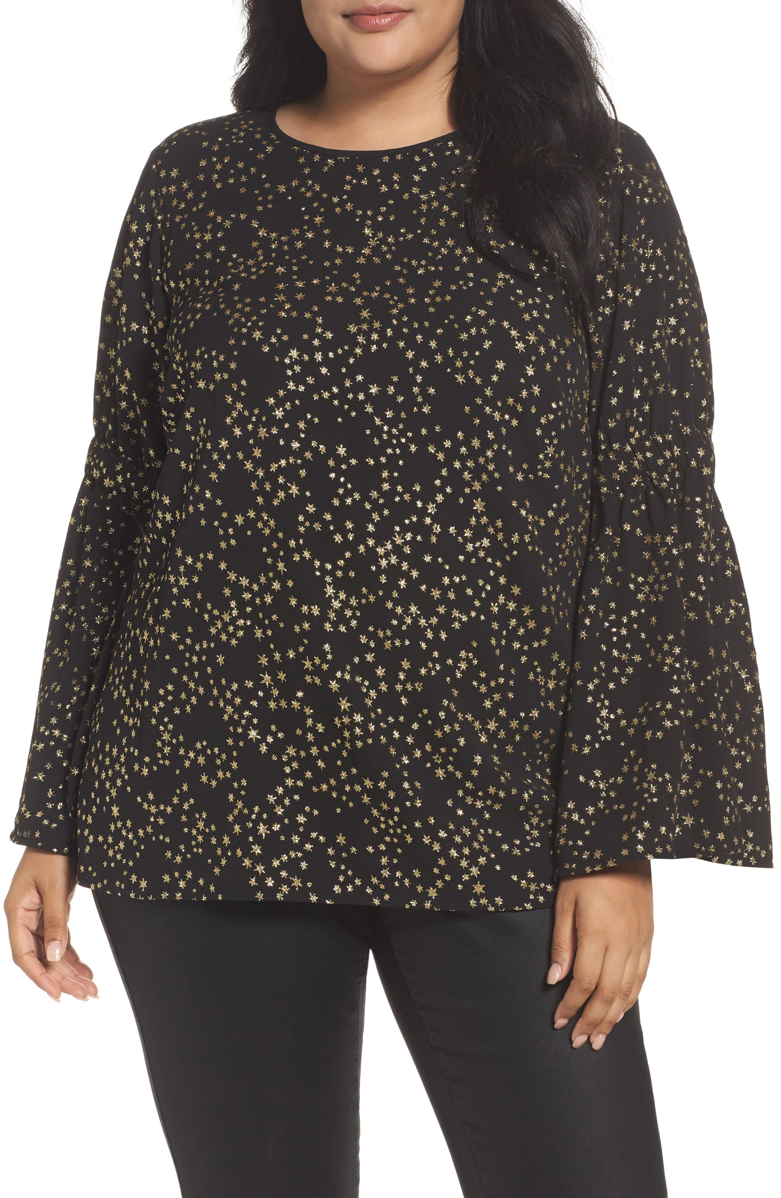 Shooting Star Bell Sleeve Top,                         Main,                         color, Black/ Gold