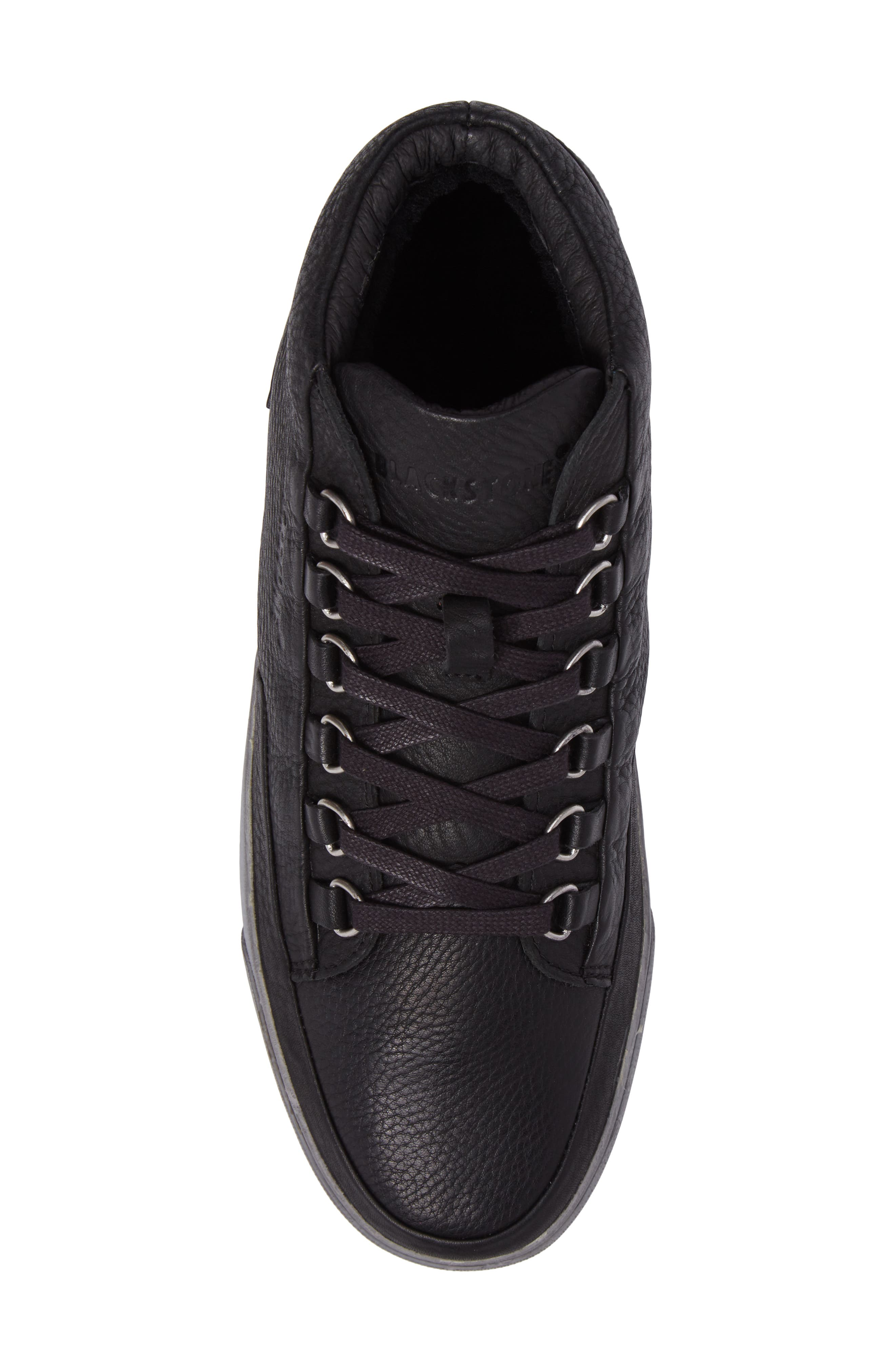 KM 02 Sneaker with Genuine Shearling Lining,                             Alternate thumbnail 5, color,                             Black Leather