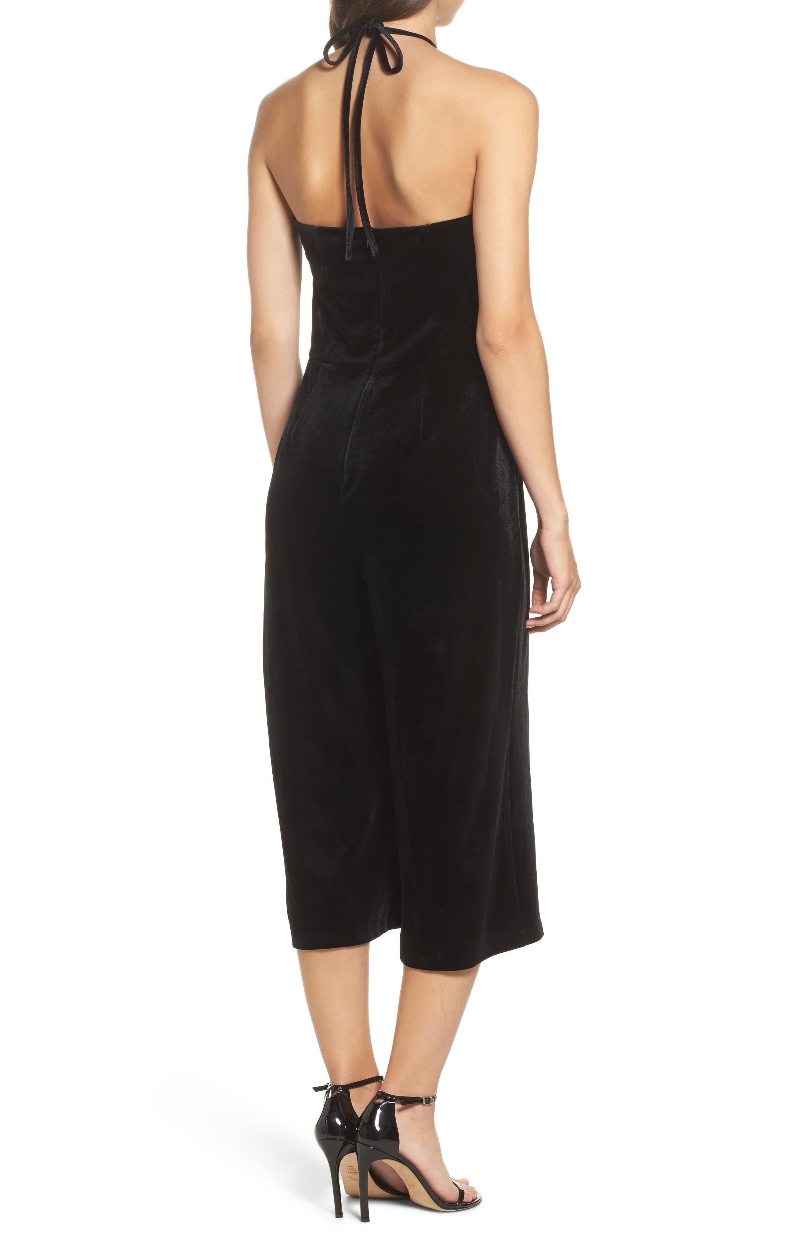 Stretch Velvet Culotte Jumpsuit,                             Alternate thumbnail 2, color,                             Black