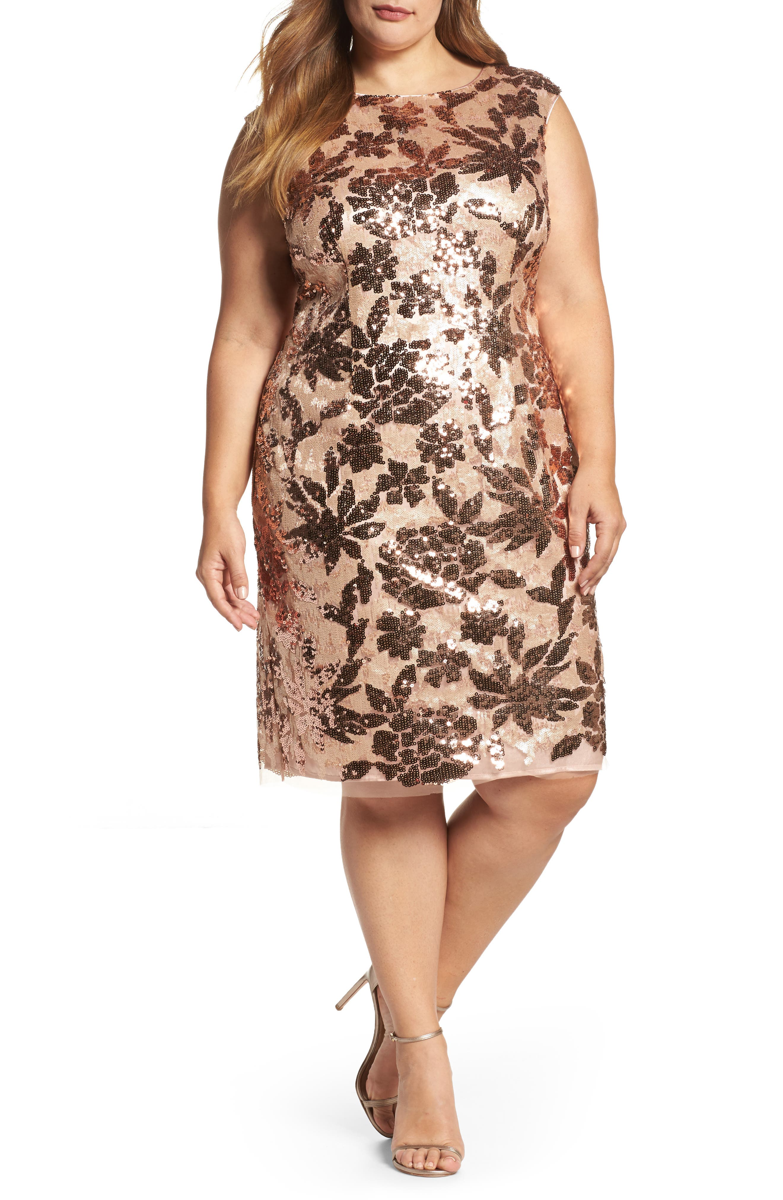 Sequin Sheath Dress,                         Main,                         color, Rose Gold