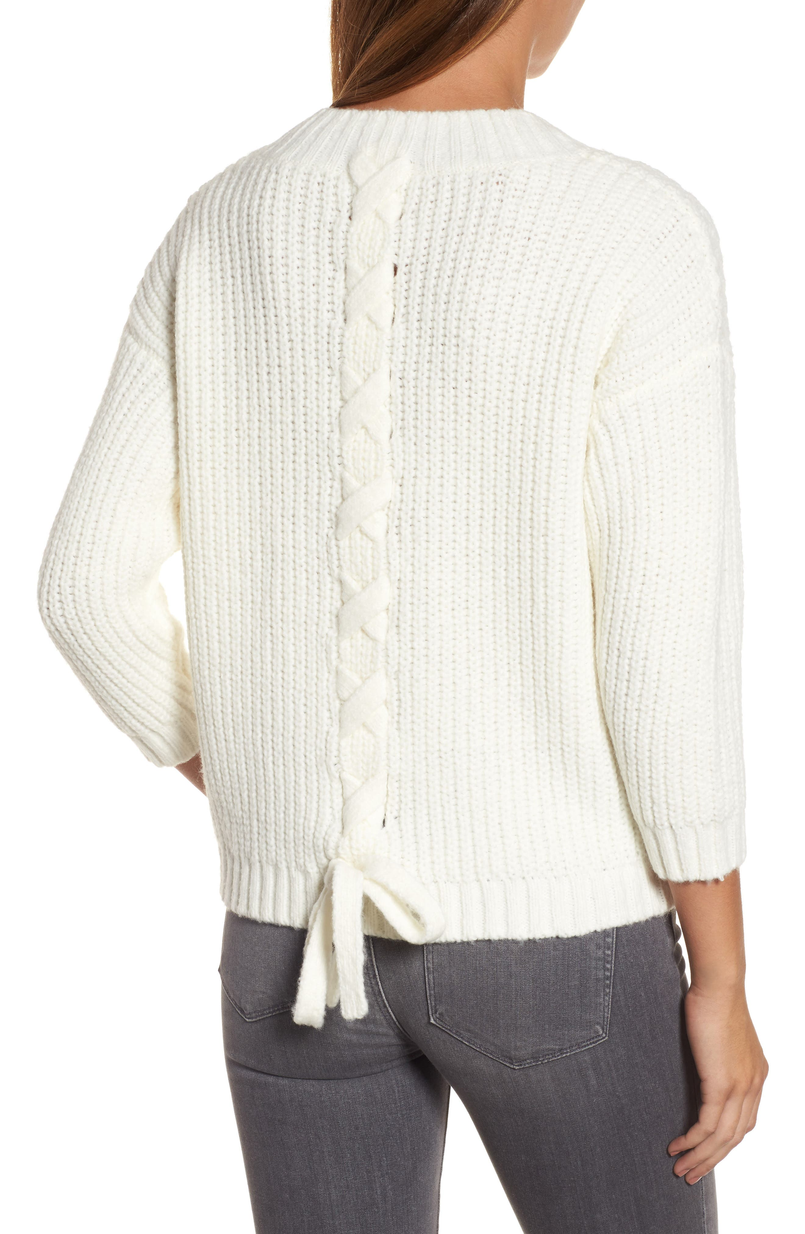 Lace Up Back V-Neck Sweater,                             Alternate thumbnail 2, color,                             Cream