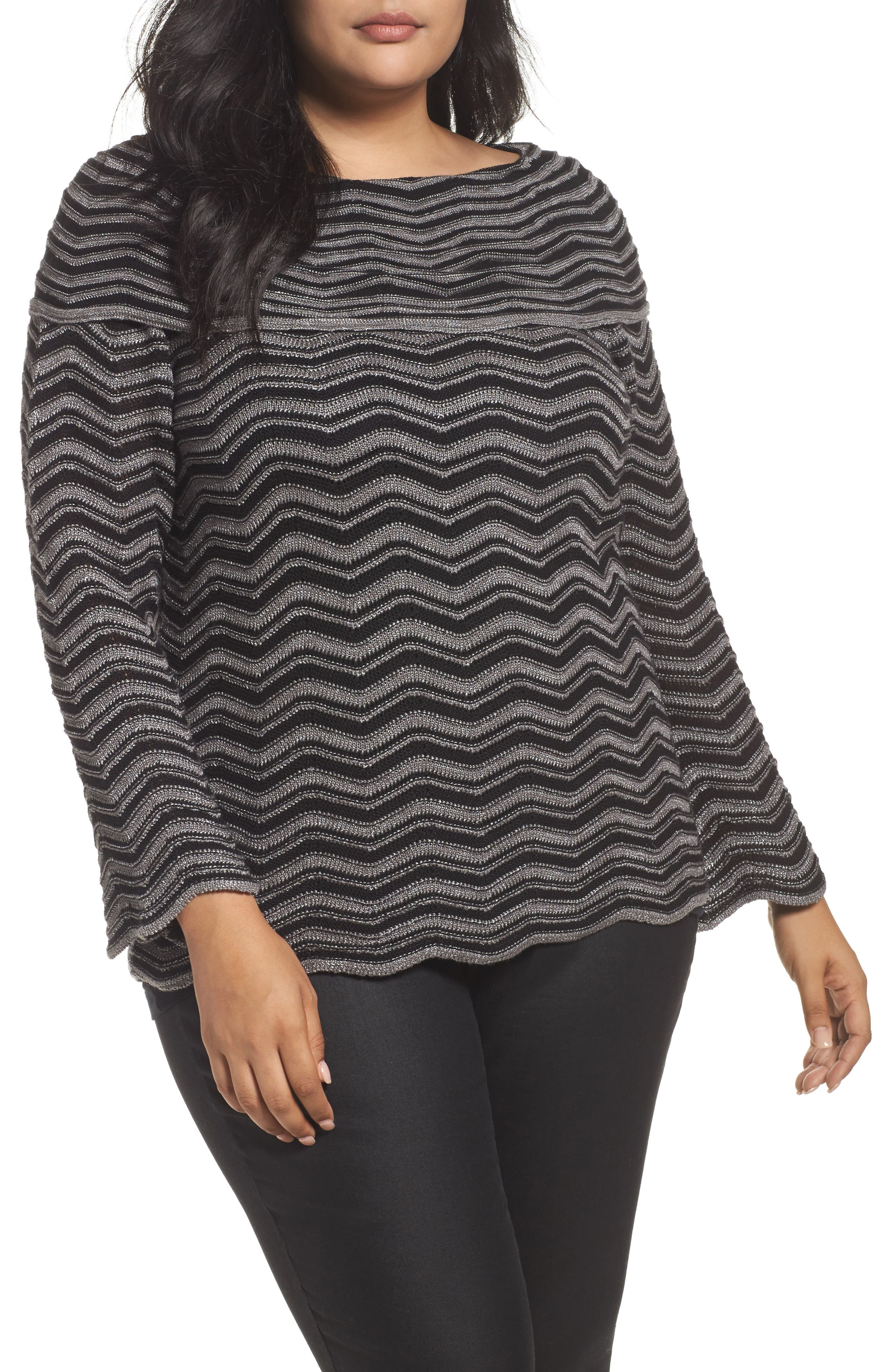 NIC+ZOE Zigzag Stripe Sweater (Plus Size)