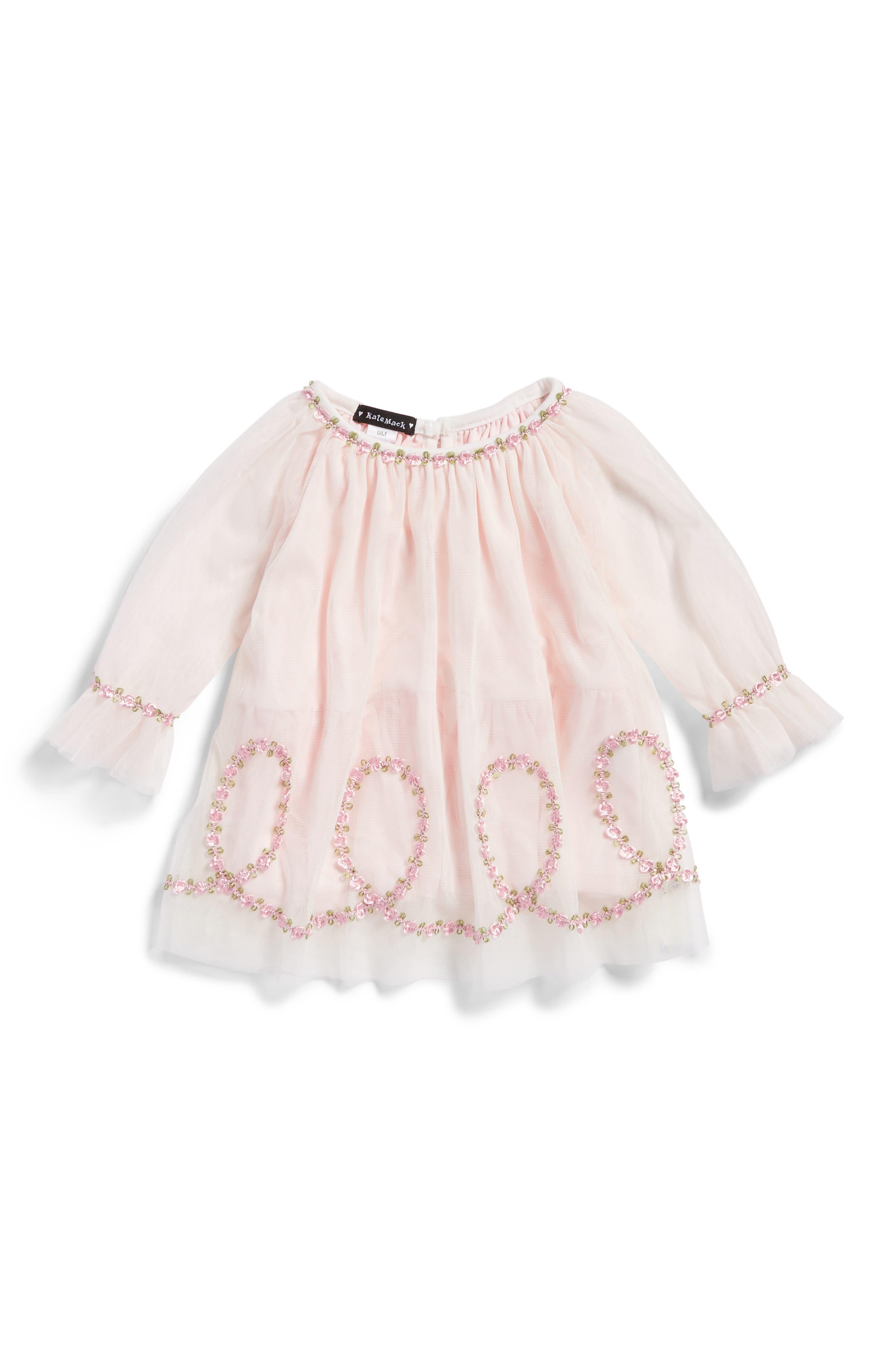 Alternate Image 1 Selected - Kate Mack Embroidered Mesh Dress (Baby Girls)