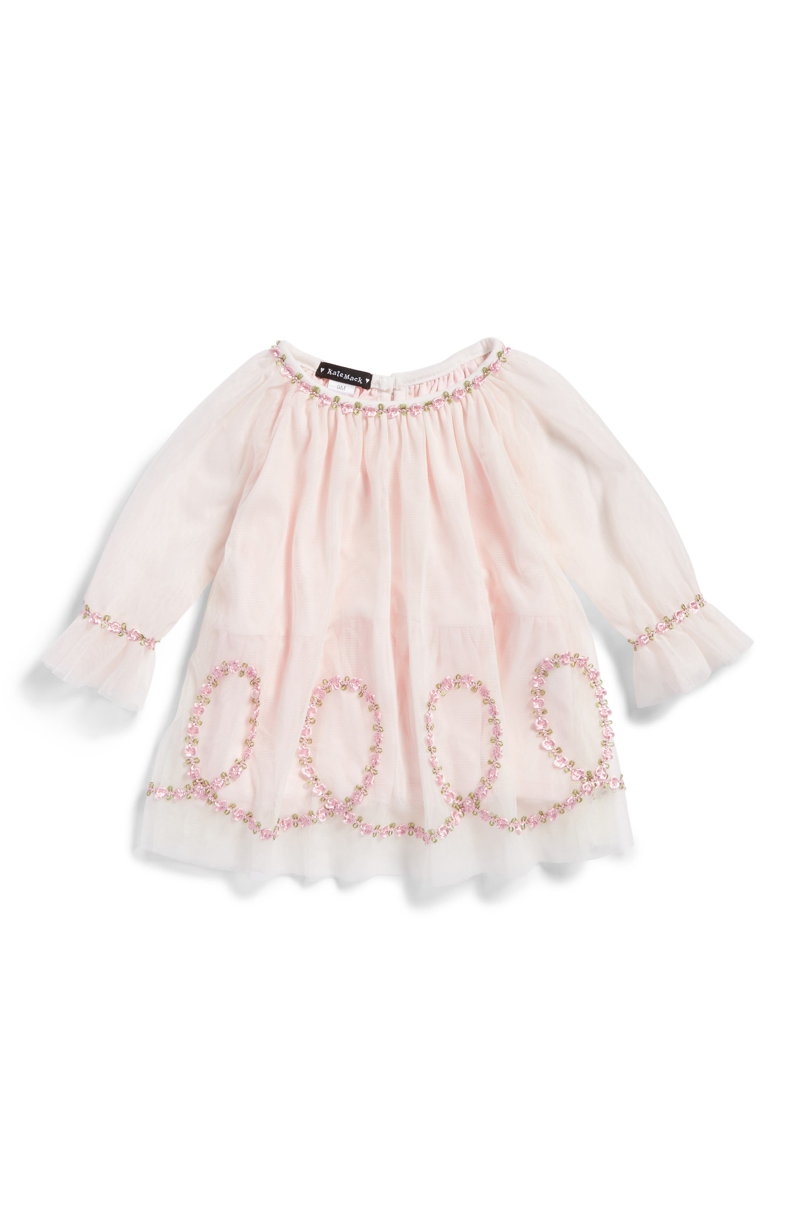 Embroidered Mesh Dress,                         Main,                         color, Pink