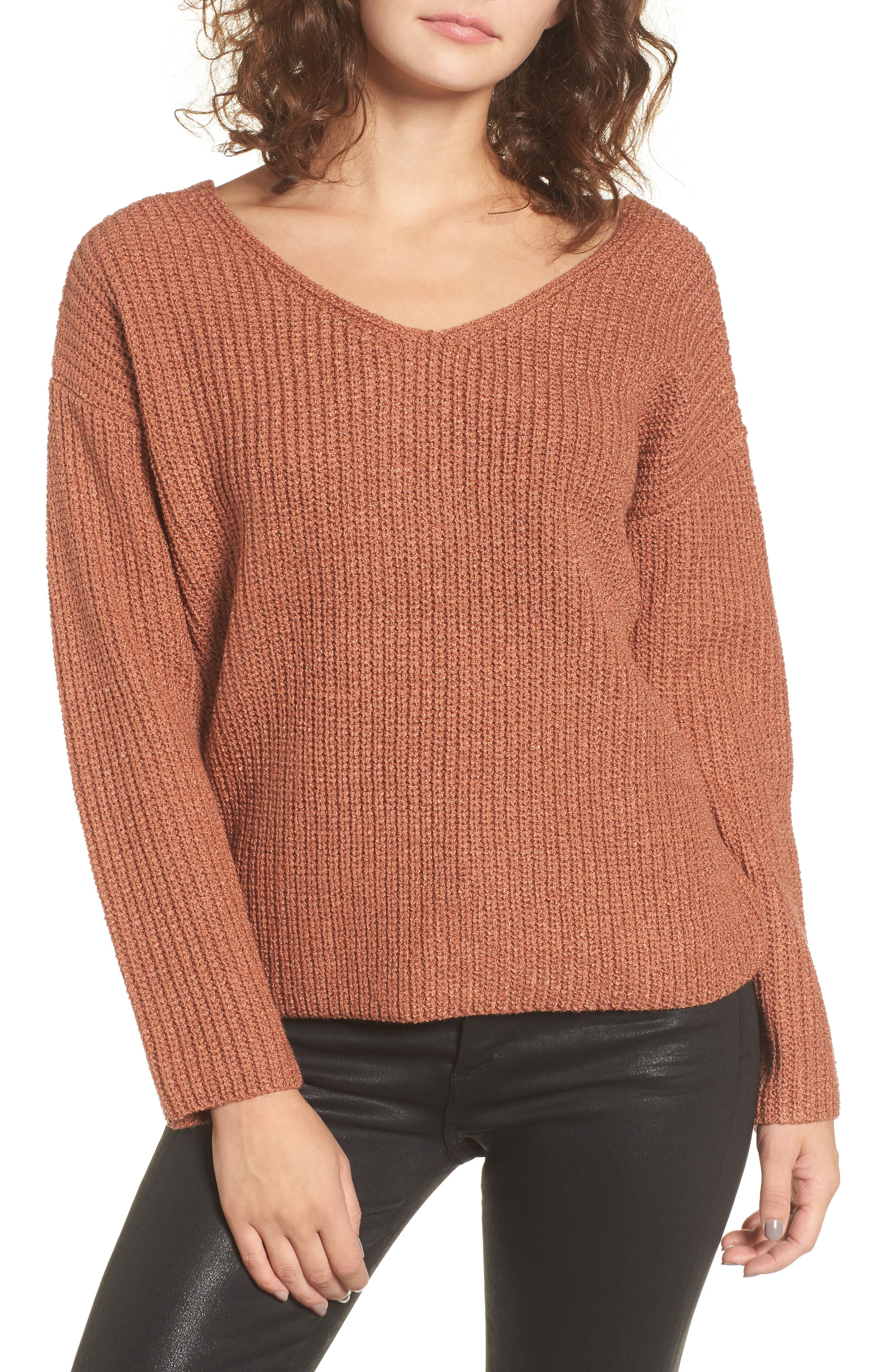 Twist Back Sweater,                             Alternate thumbnail 2, color,                             Coral Cedar