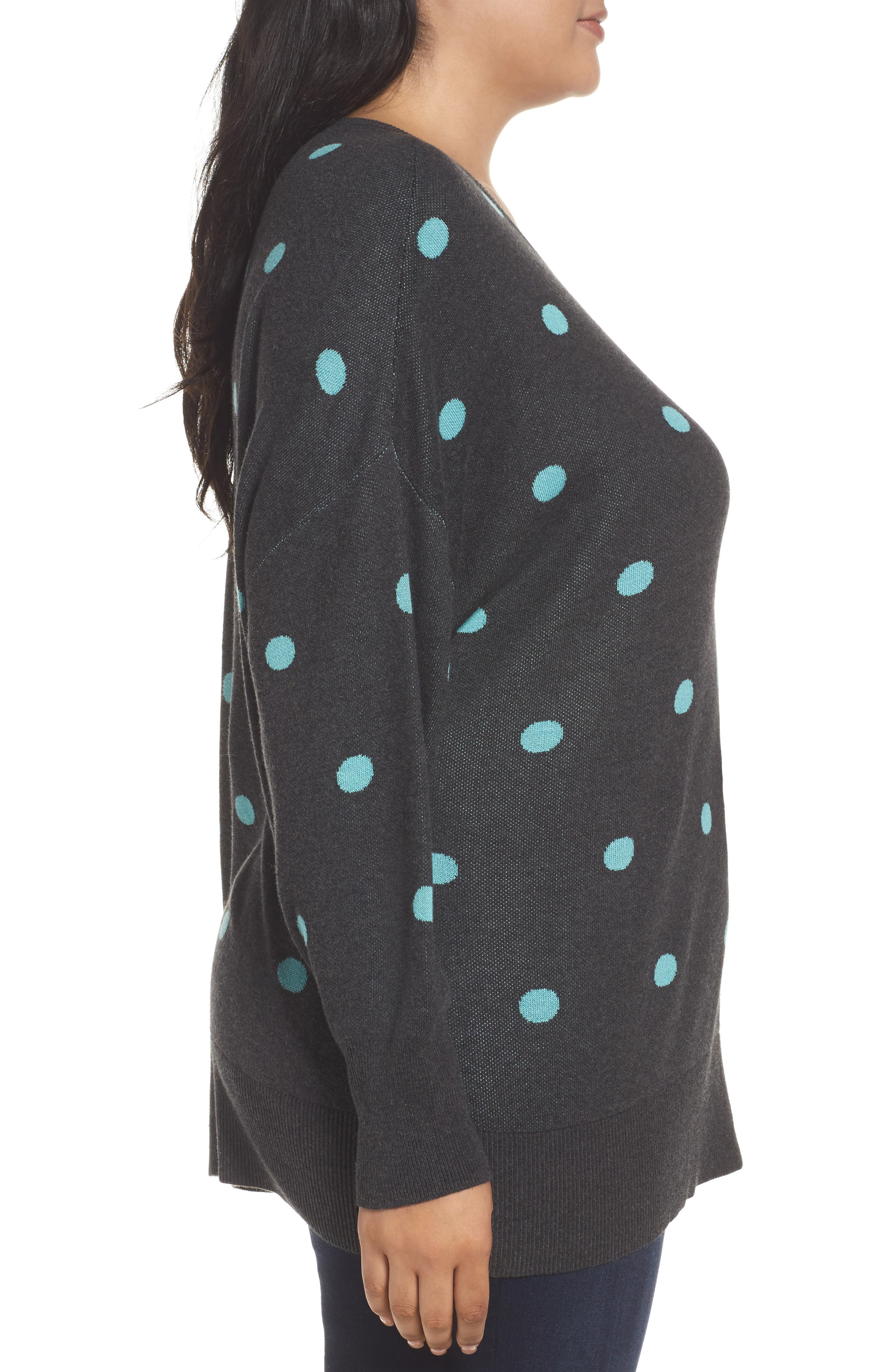 Dolman Sleeve Crewneck Sweater,                             Alternate thumbnail 3, color,                             Grey- Blue Dots Pattern