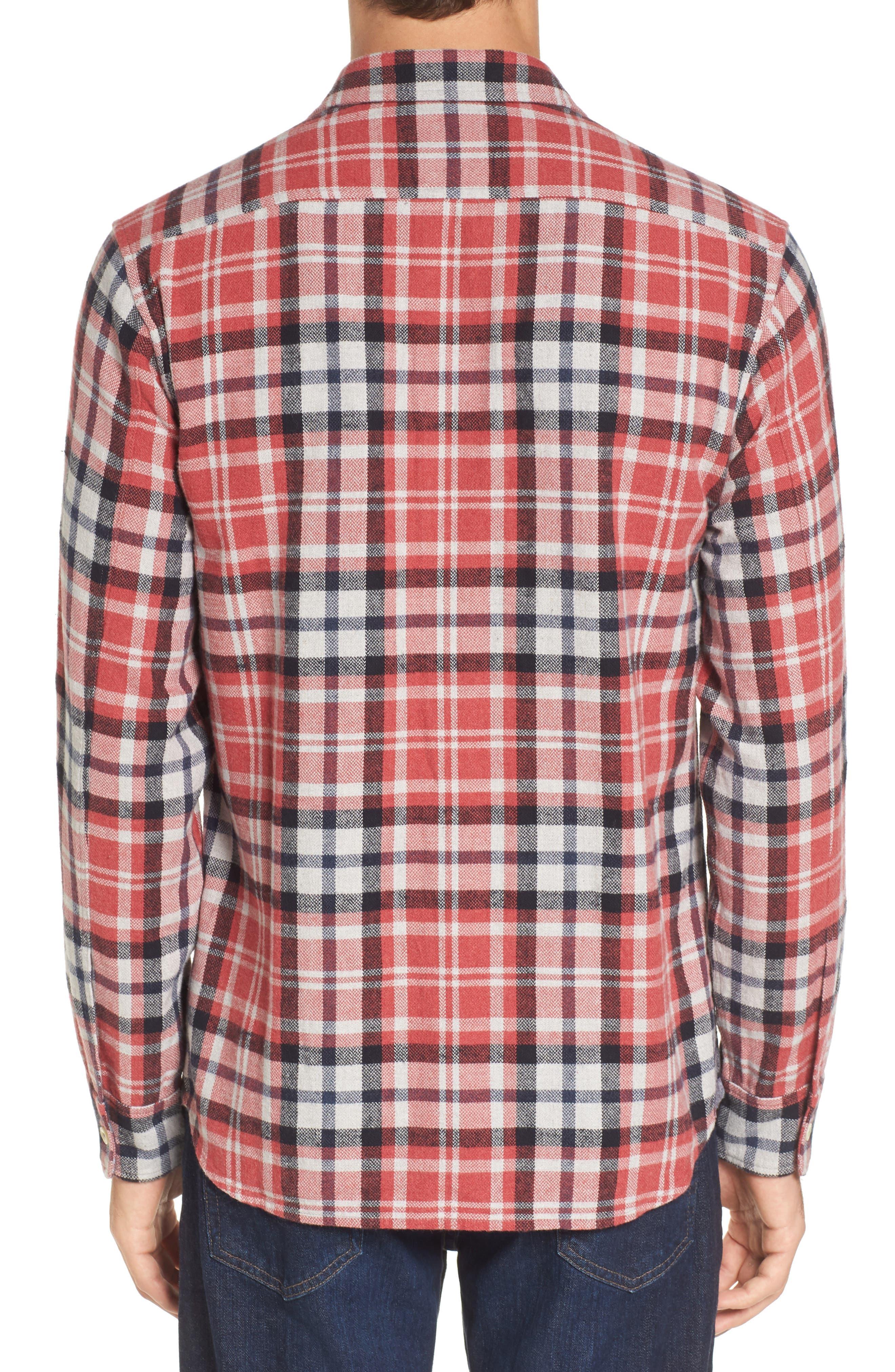 Brampton Textured Plaid Flannel Shirt,                             Alternate thumbnail 2, color,                             Red Stone Navy