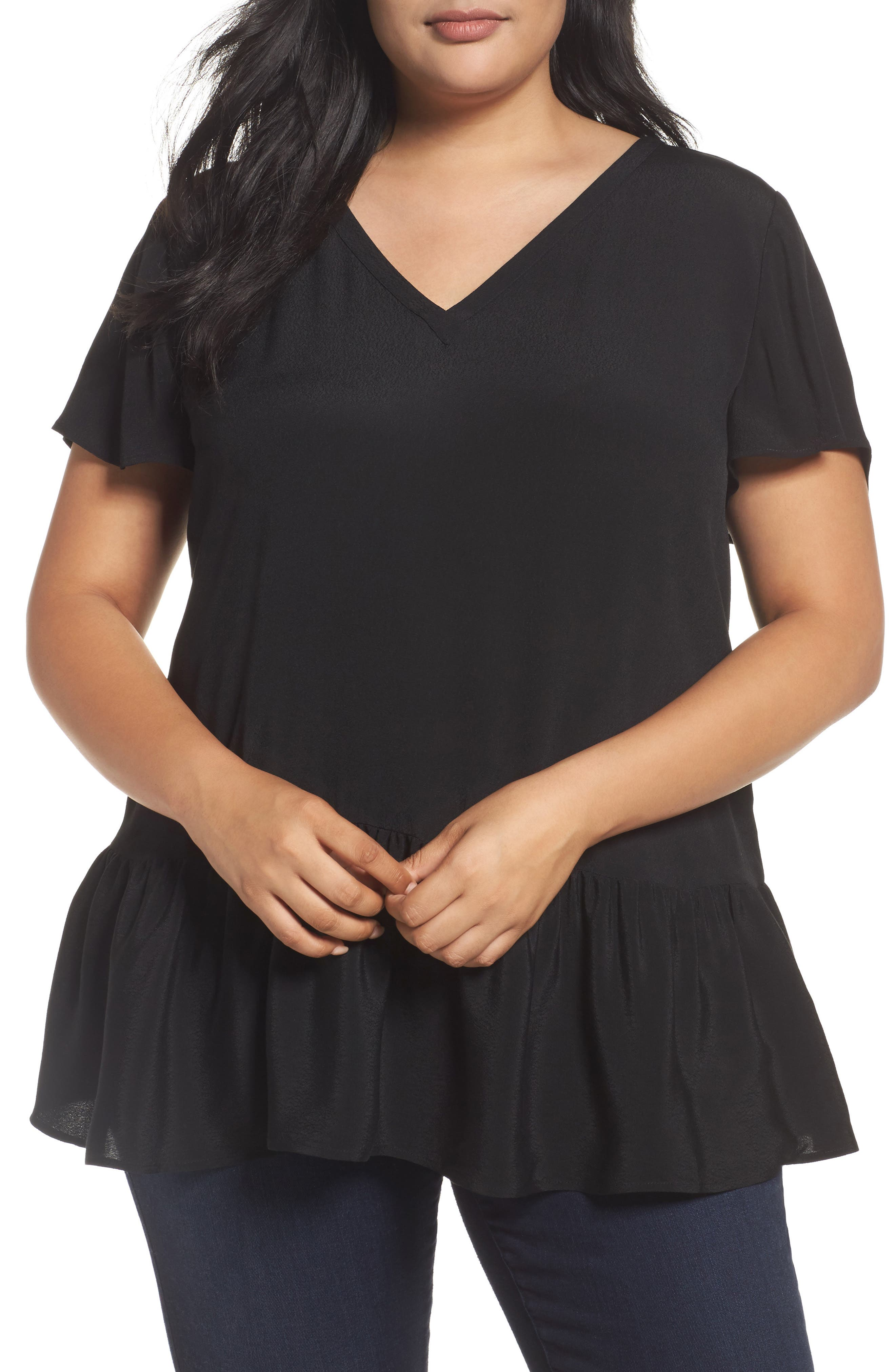 V-Neck Peplum Top,                         Main,                         color, Black