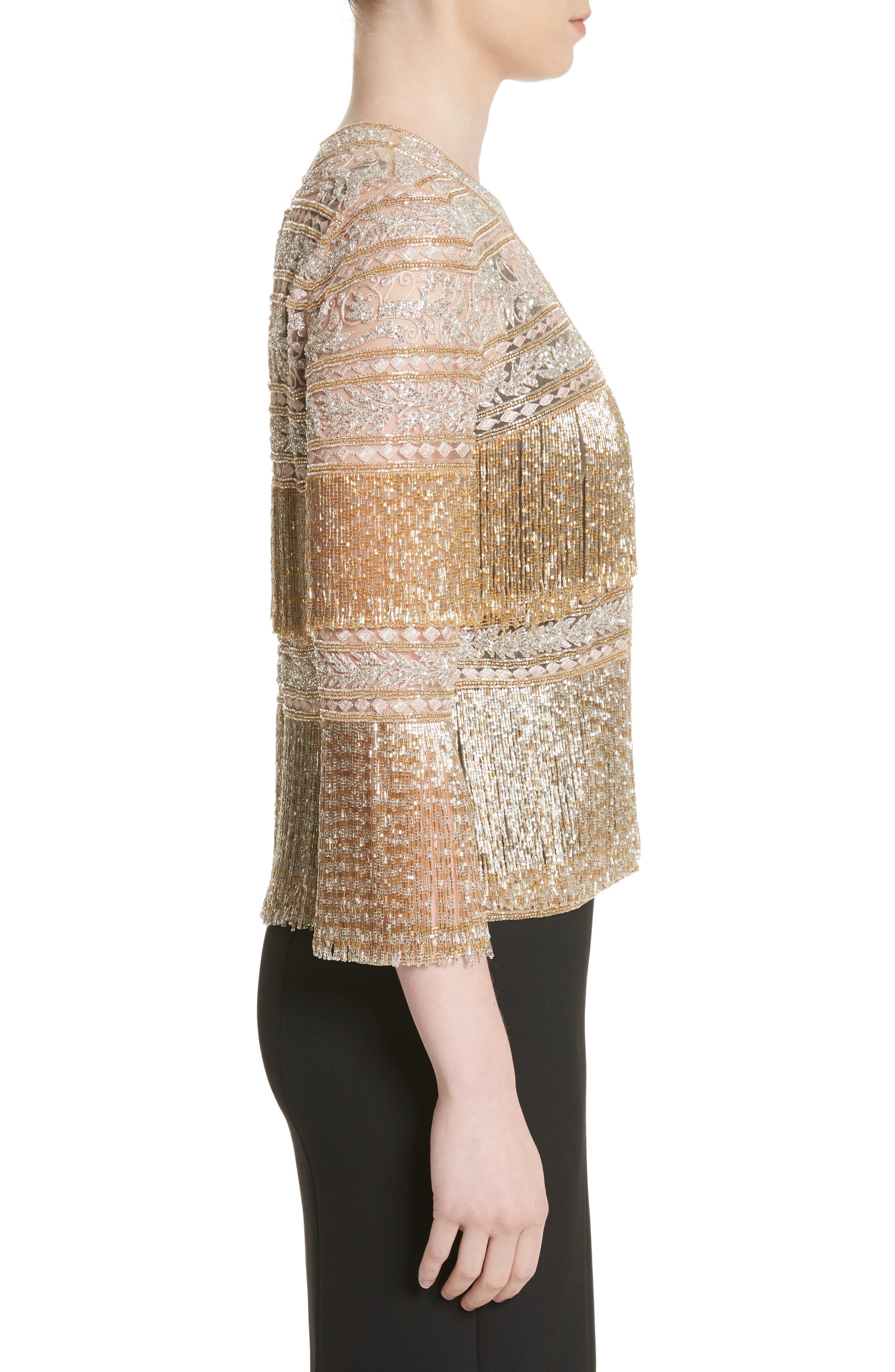 Sequin Fringe Jacket,                             Alternate thumbnail 3, color,                             Gold