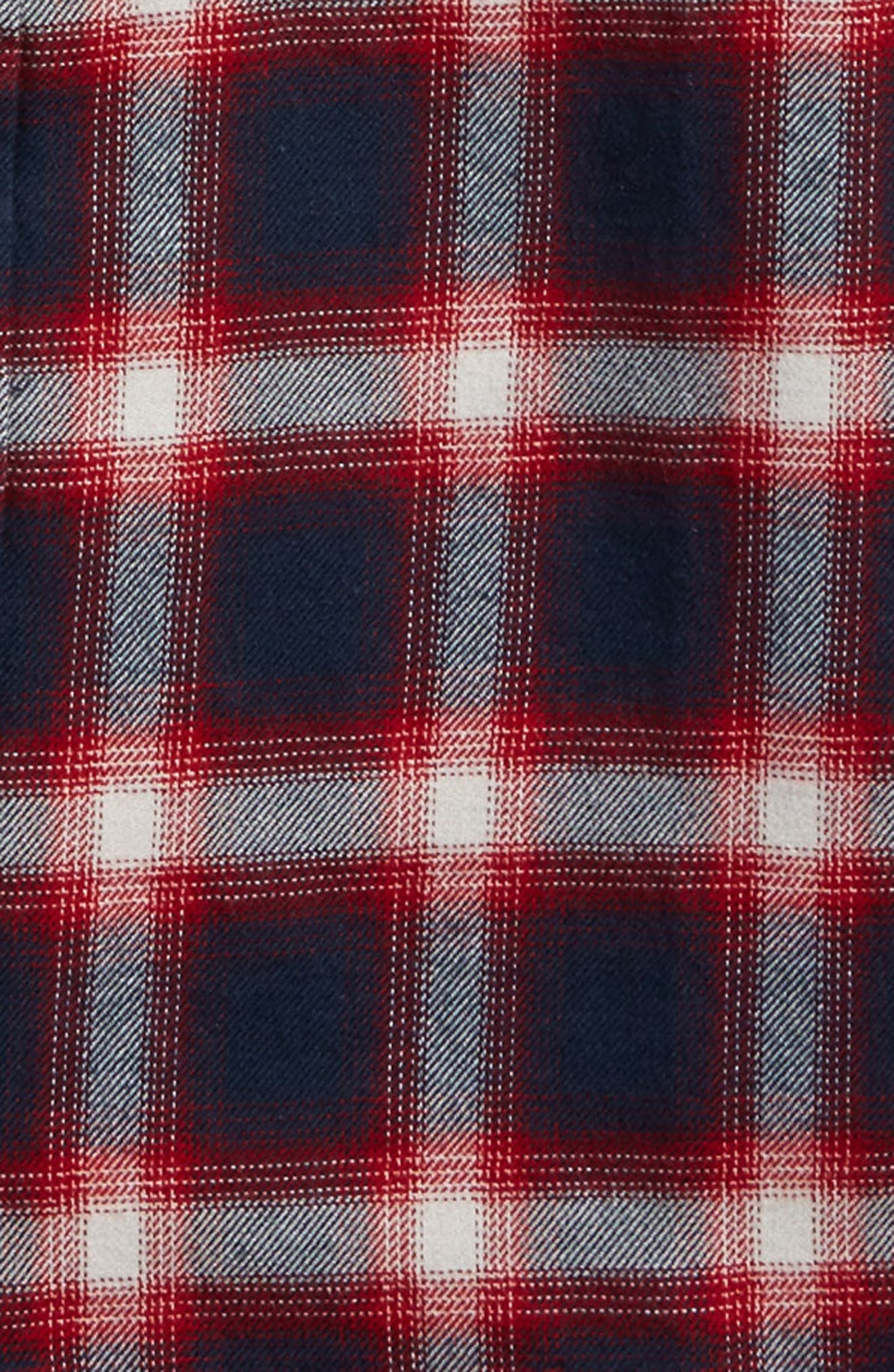 Beechwood Plaid Flannel Shirt,                             Alternate thumbnail 2, color,                             Dress Blues/ Chili Pepper