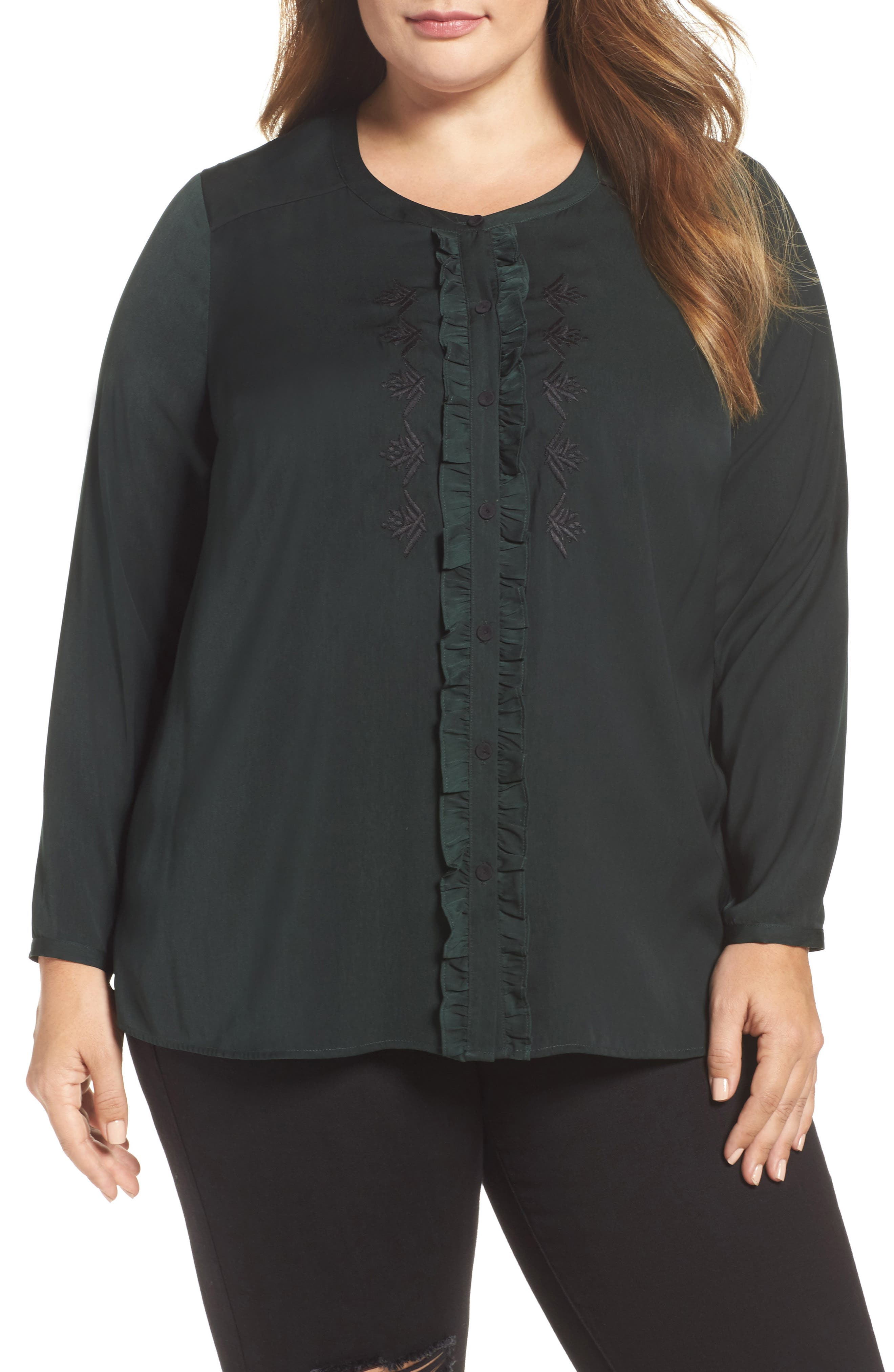 Daniel Rainn Ruffle Placket Blouse (Plus Size)