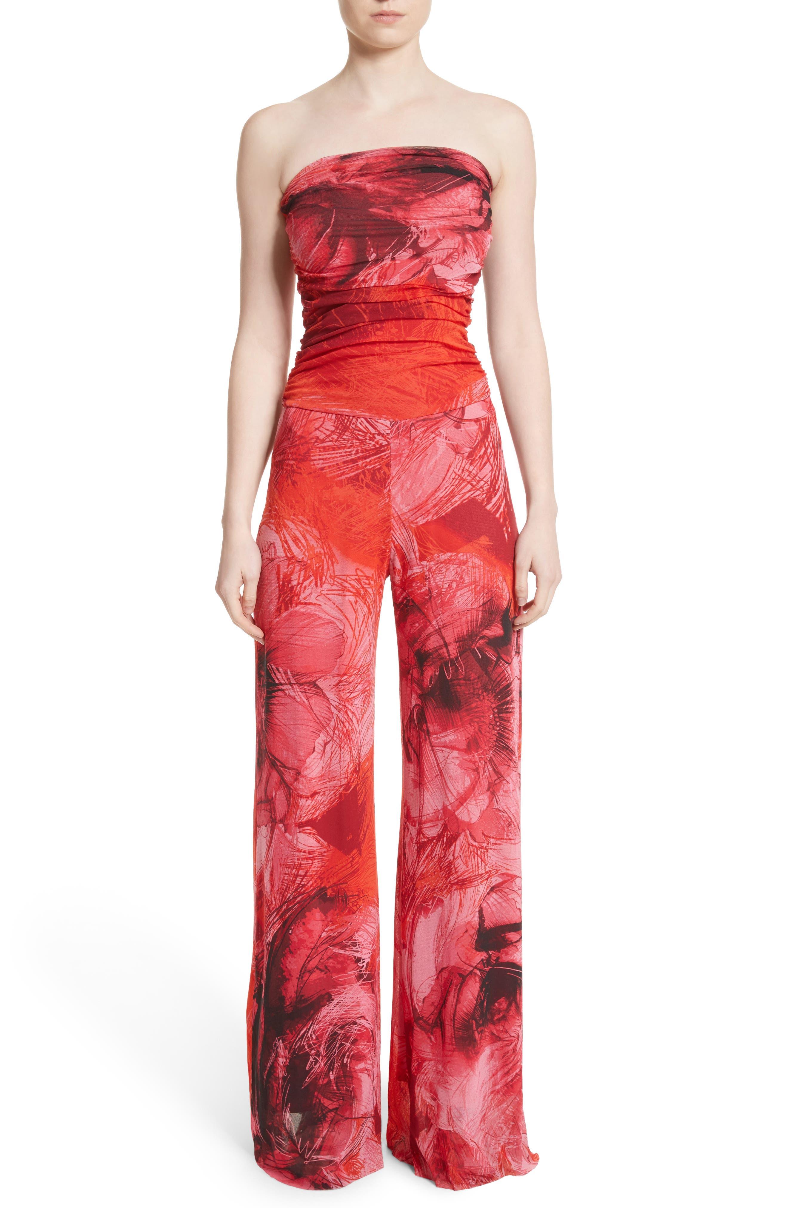 Fuzzi Print Tulle Strapless Jumpsuit