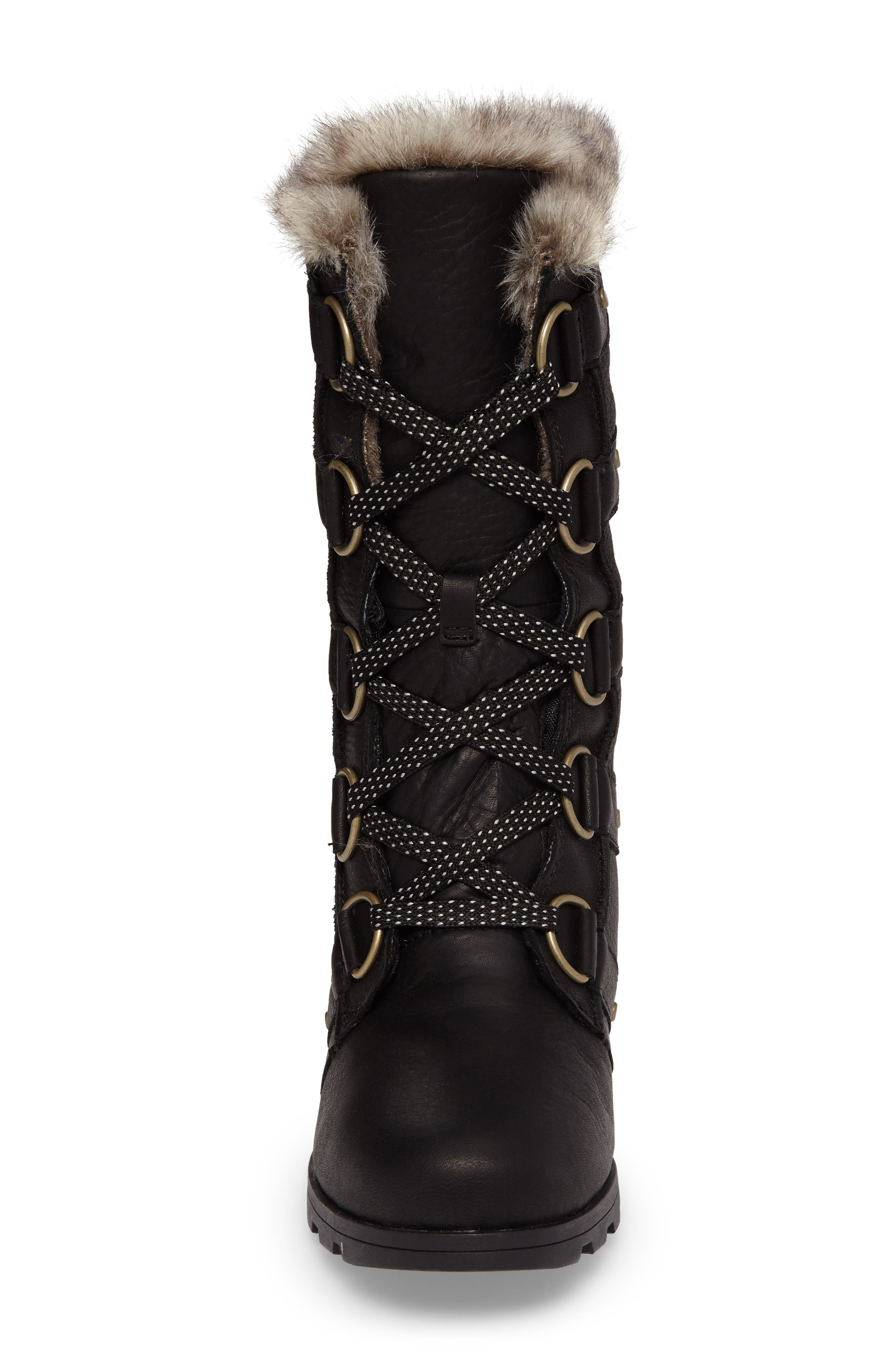 Emelie Waterproof Lace Up Boot with Faux Fur Trim,                             Alternate thumbnail 4, color,                             Black