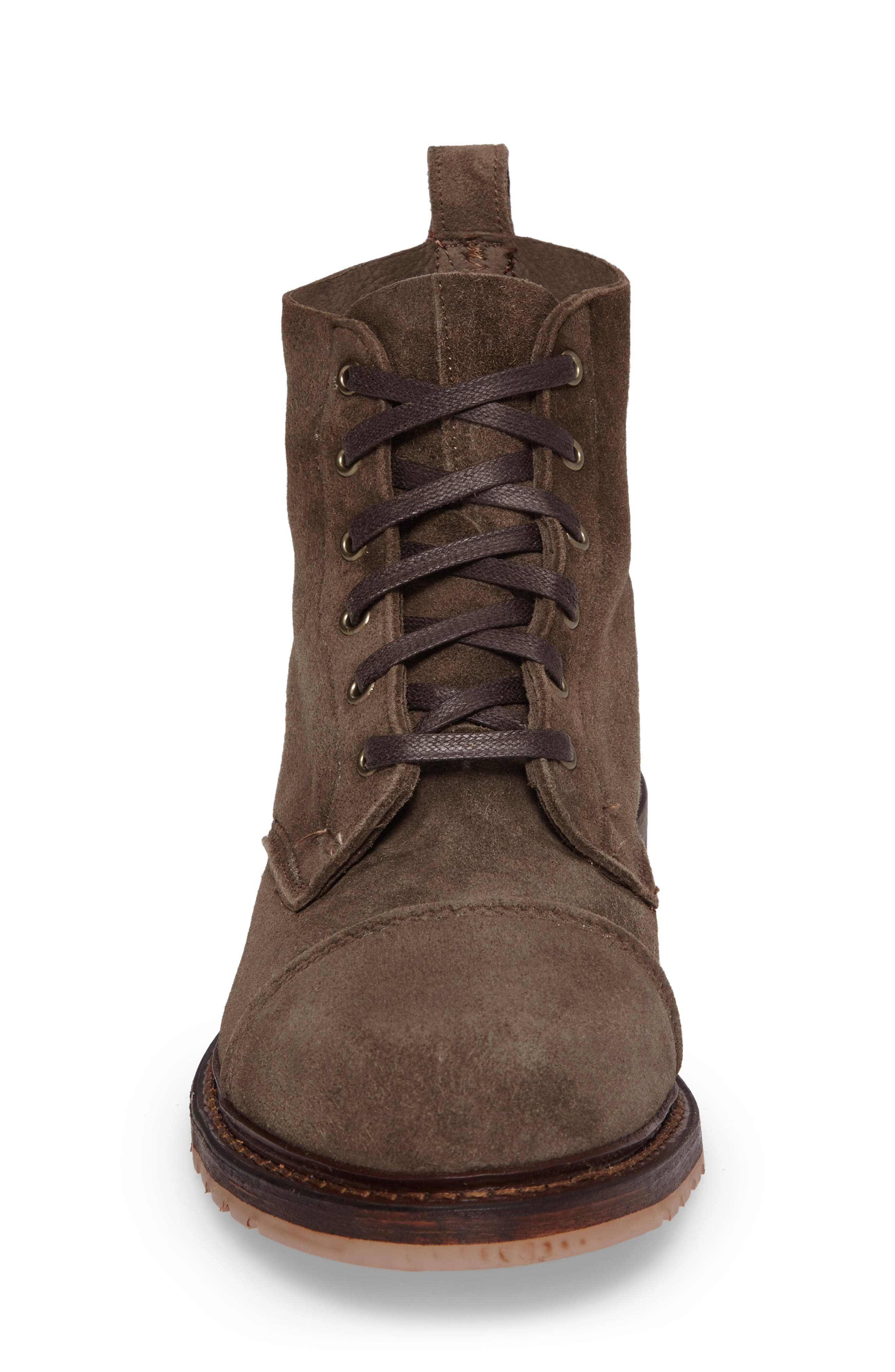 Caen Cap Toe Boot,                             Alternate thumbnail 4, color,                             Taupe Leather