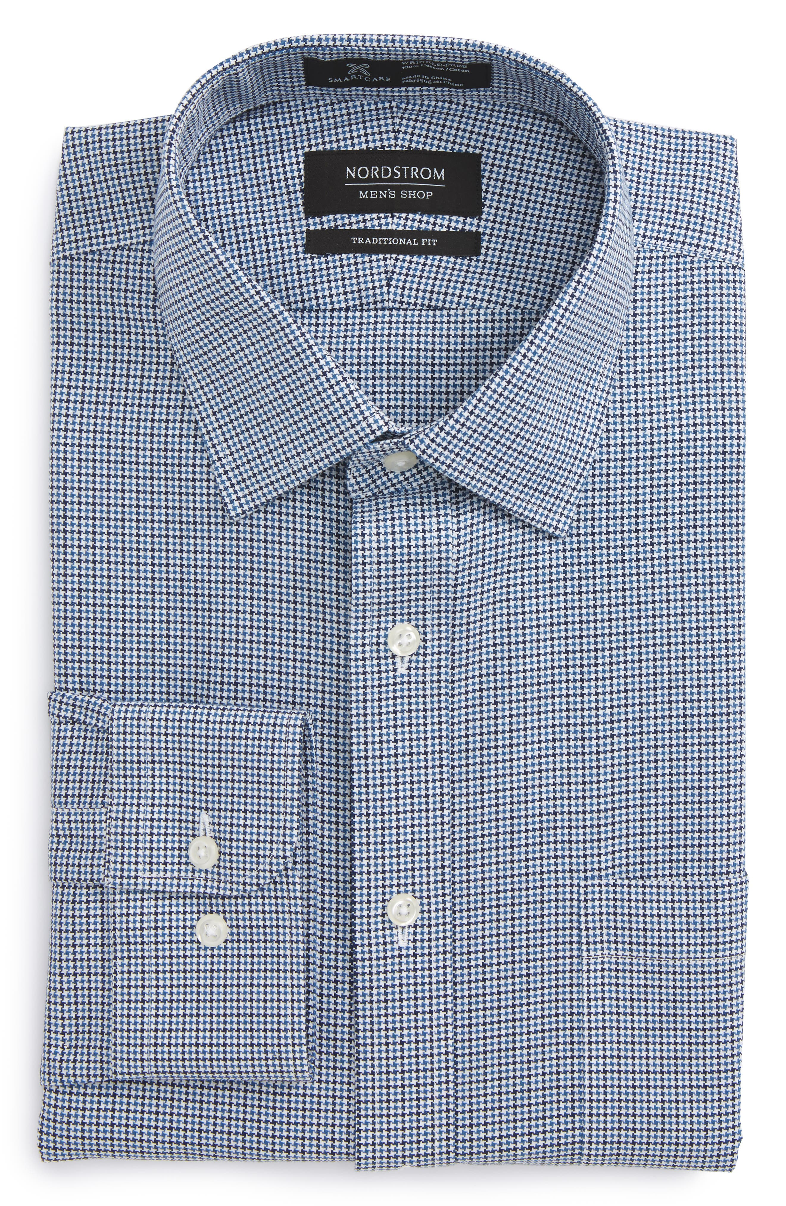 Smartcare<sup>™</sup> Traditional Fit Houndstooth Dress Shirt,                             Alternate thumbnail 6, color,                             Navy Medieval