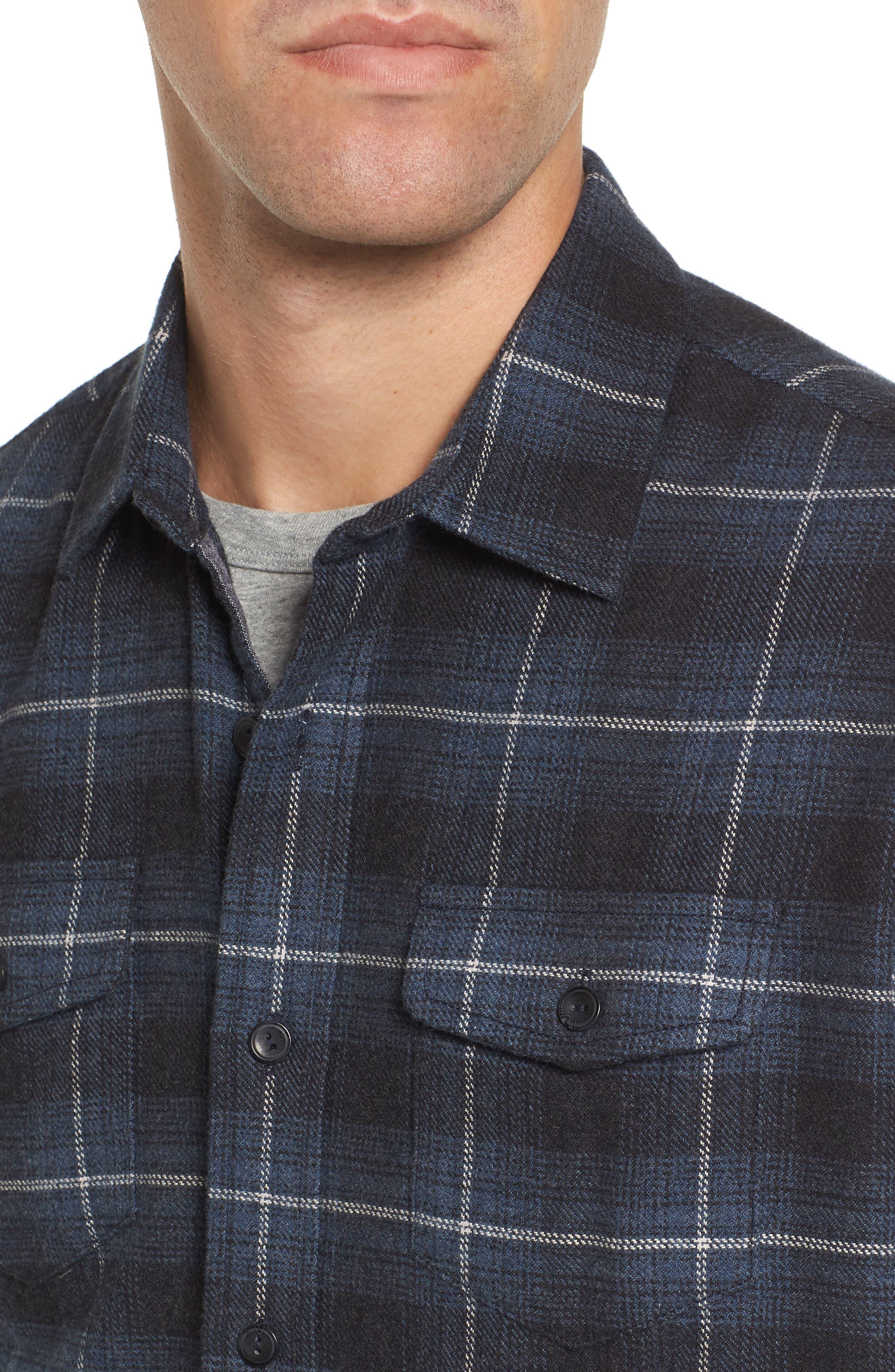 Clarke Heritage Flannel Shirt,                             Alternate thumbnail 4, color,                             Blue Charcoal