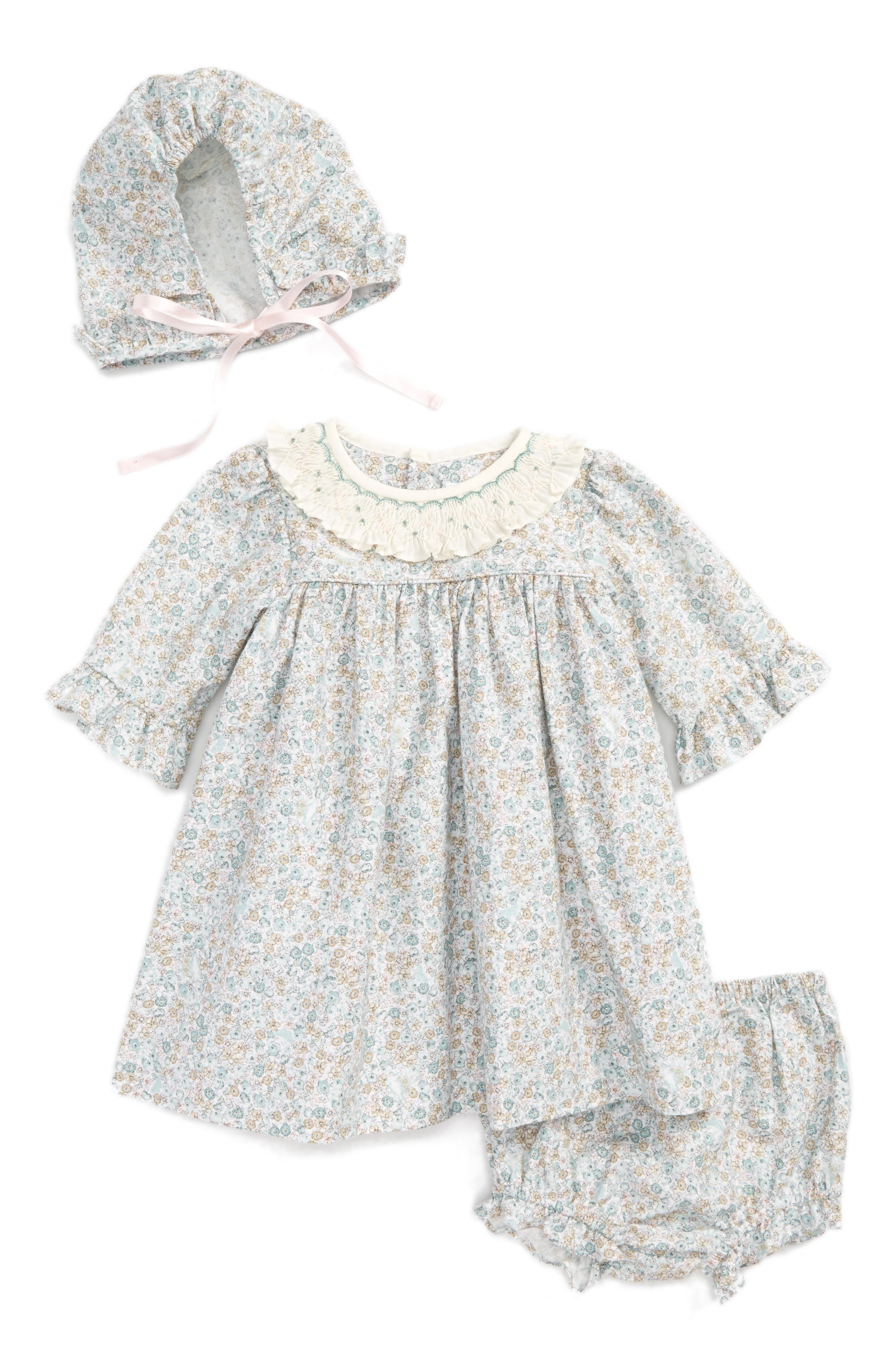 Luli & Me Dress, Hat & Bloomers Set (Baby Girls)