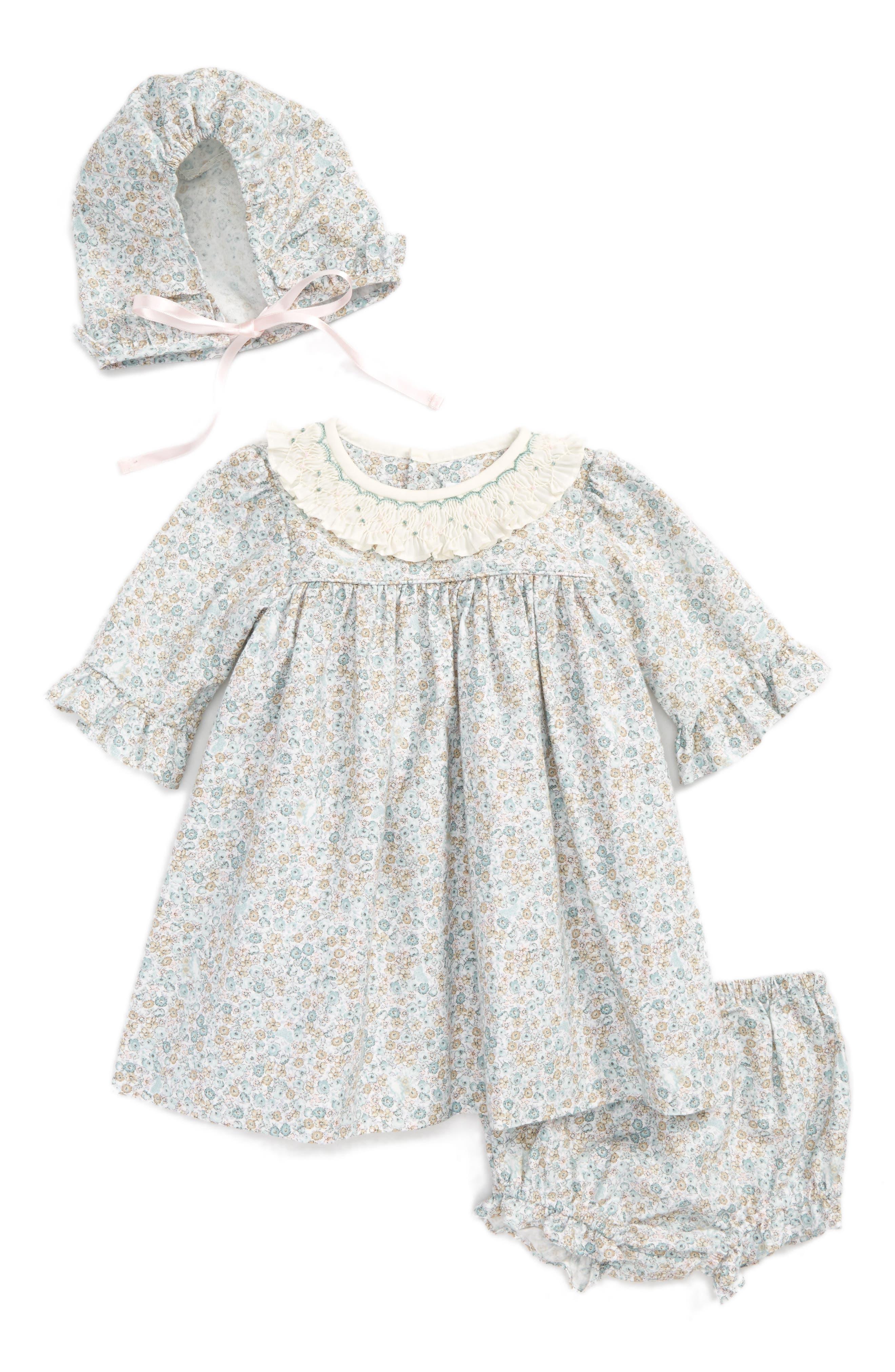 Luli & Me Dress, Hat & Bloomers Set (Baby Girls)