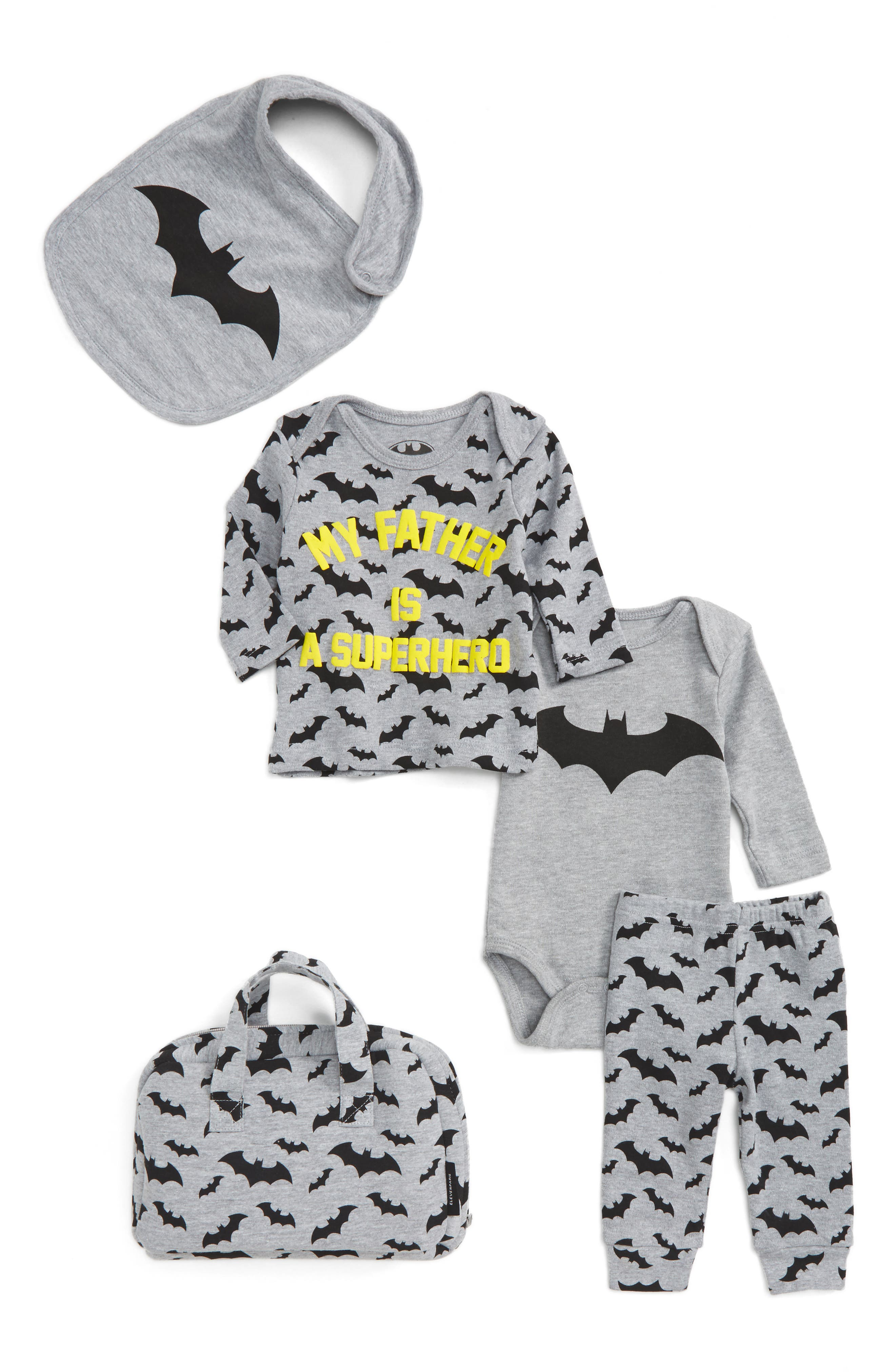My Father is a Superhero - Bat Five-Piece Gift Set,                         Main,                         color, Grey