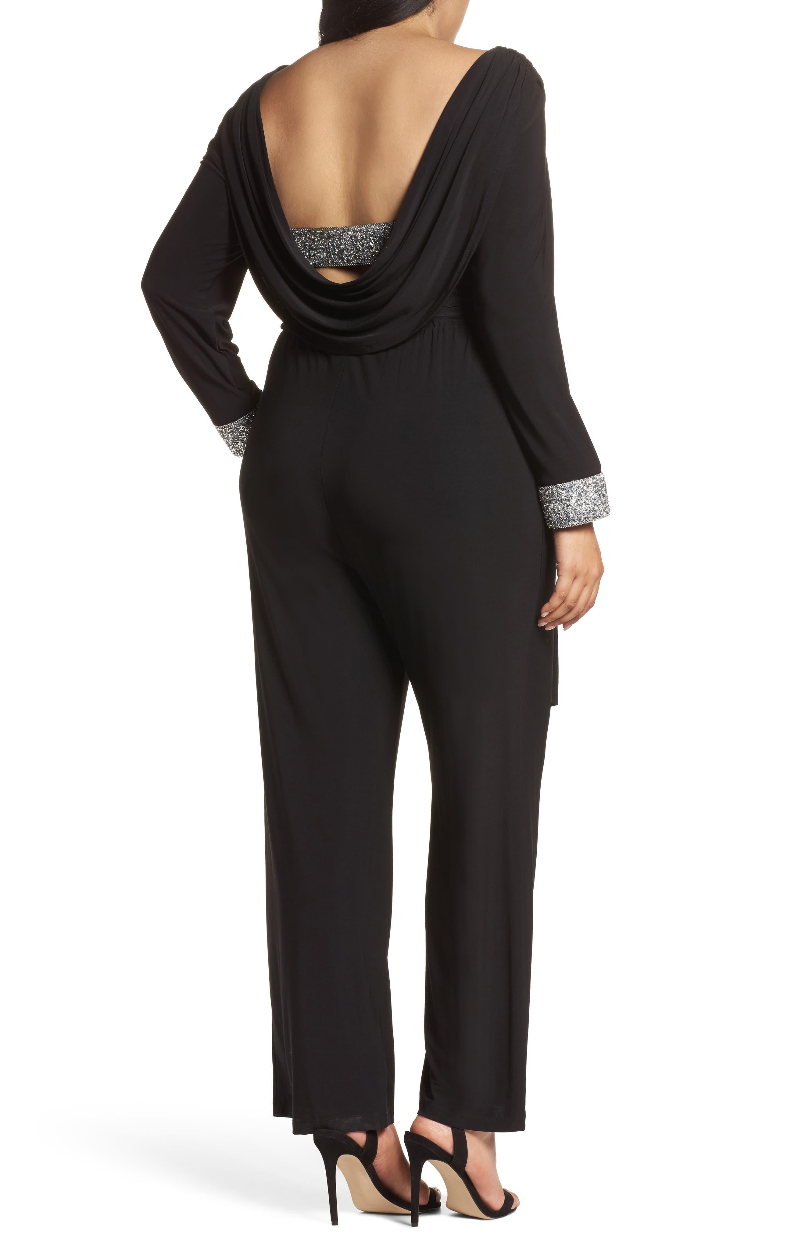 Embellished Cowl Back Jumpsuit,                             Alternate thumbnail 2, color,                             Black