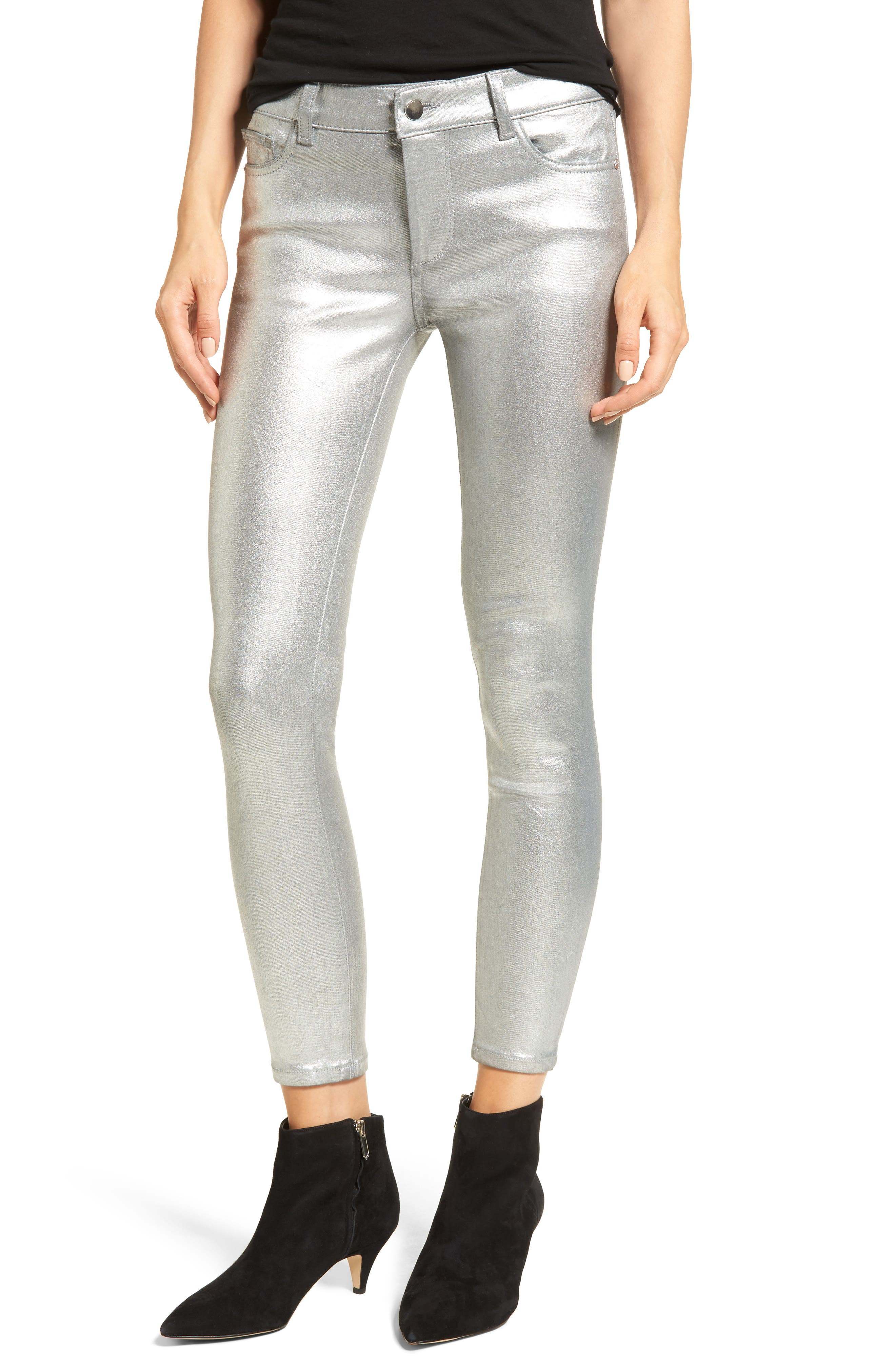 DL1961 Florence Instasculpt Crop Skinny Jeans (Flat Silver)