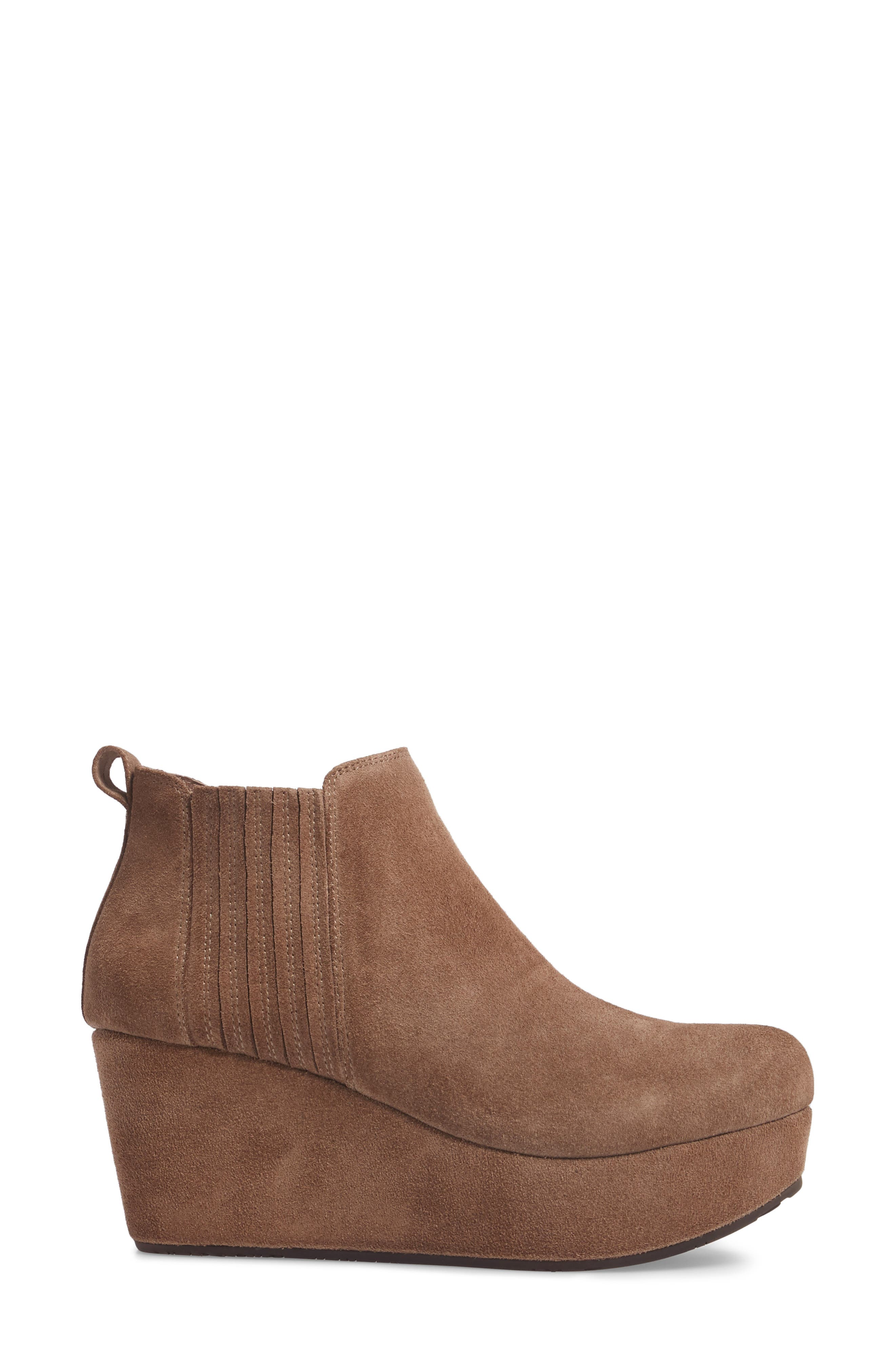 Walden Wedge Bootie,                             Alternate thumbnail 3, color,                             Taupe Suede