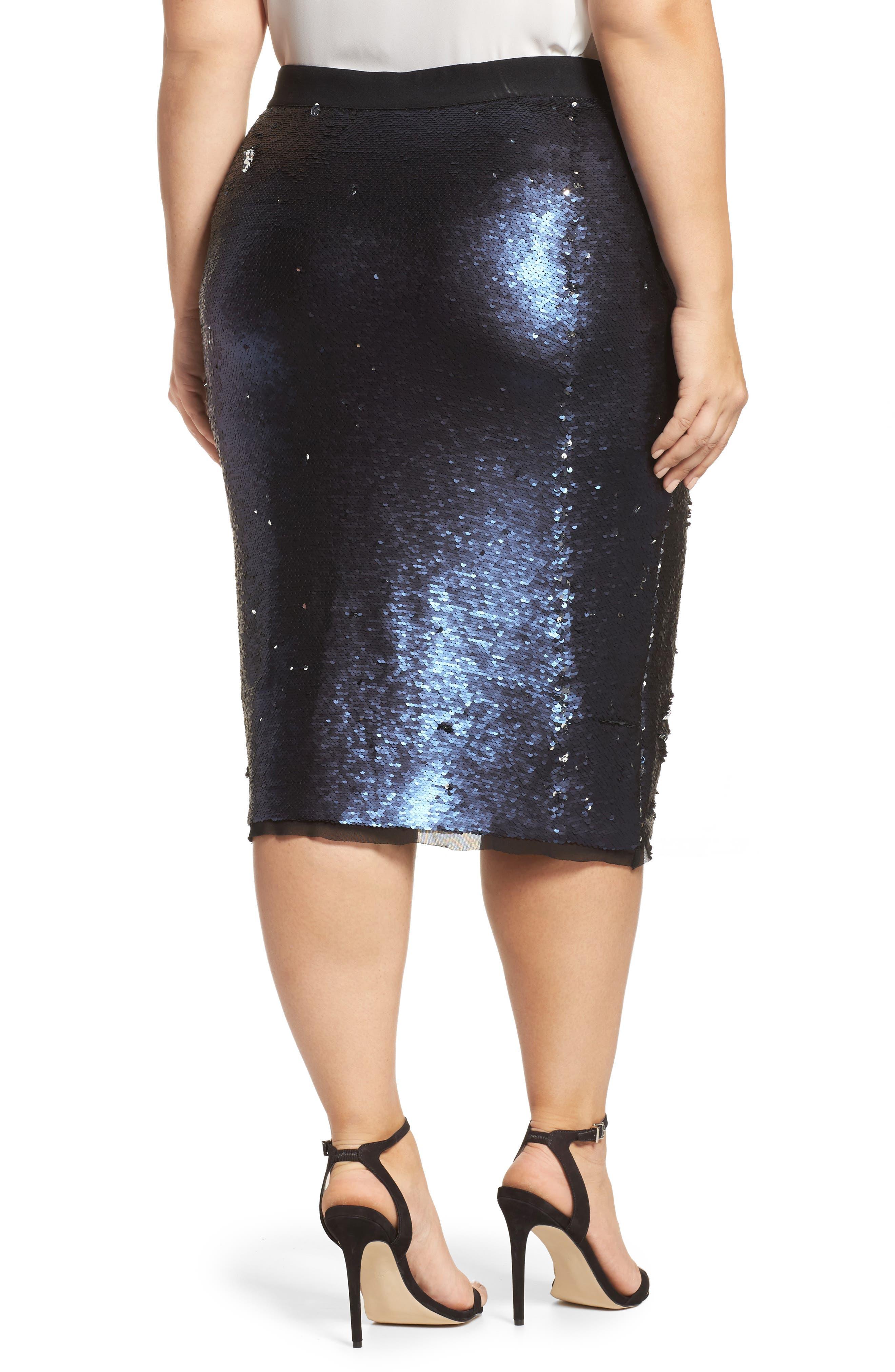 Alternate Image 2  - Rebel Wilson x Angels Sequin Mesh Pencil Skirt (Plus Size)
